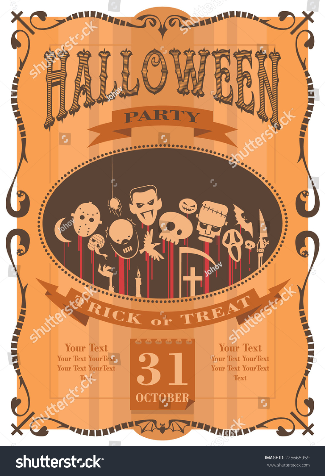100 halloween certificate template halloween party desserts halloween certificate template halloween party invitation template stock vector 225665959 yadclub Choice Image