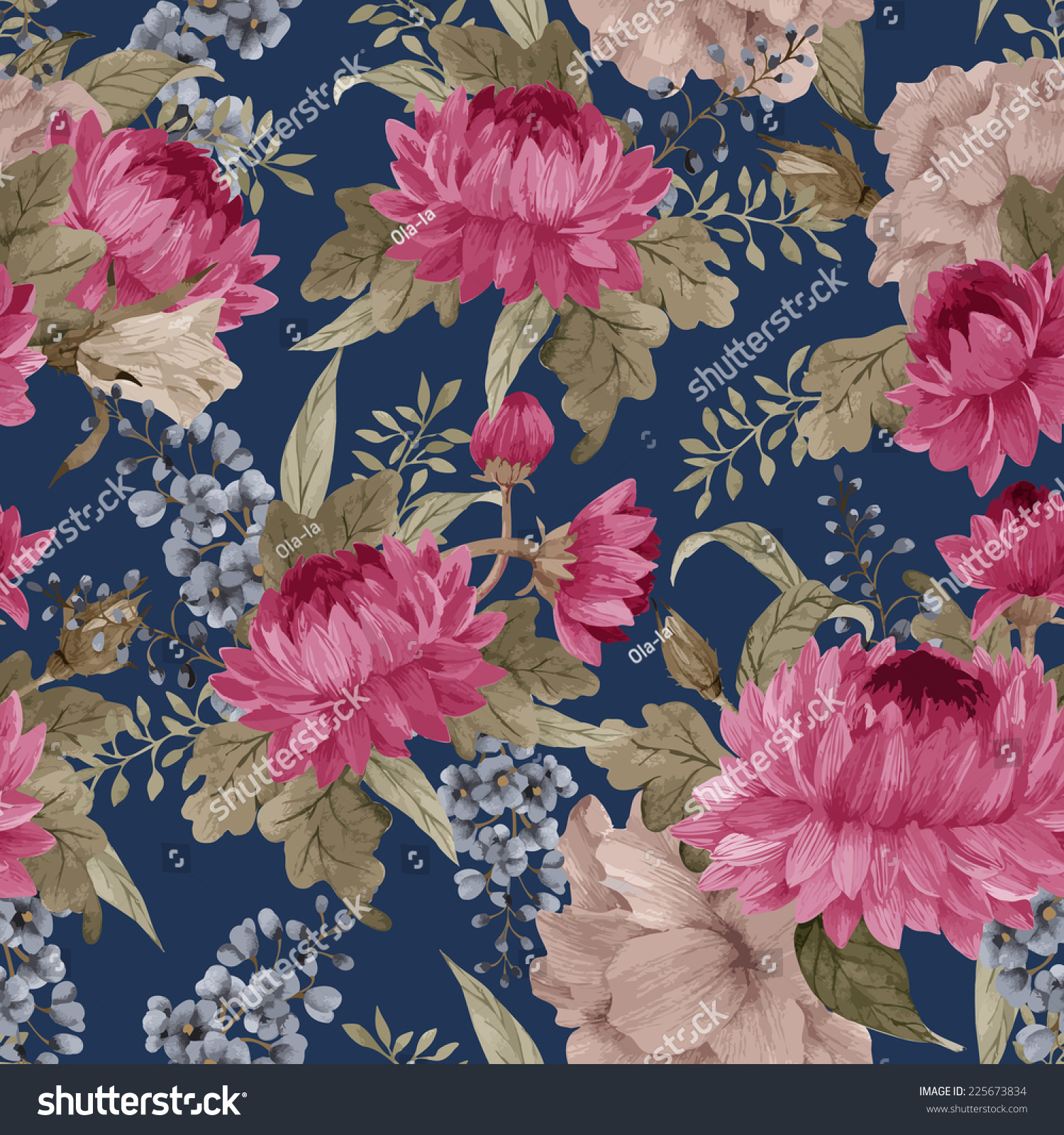 Pink floral seamless vector background floral hrysanthemum seamless - Seamless Floral Pattern With Roses Chrysanthemum And Delphinium Watercolor Vector Illustration