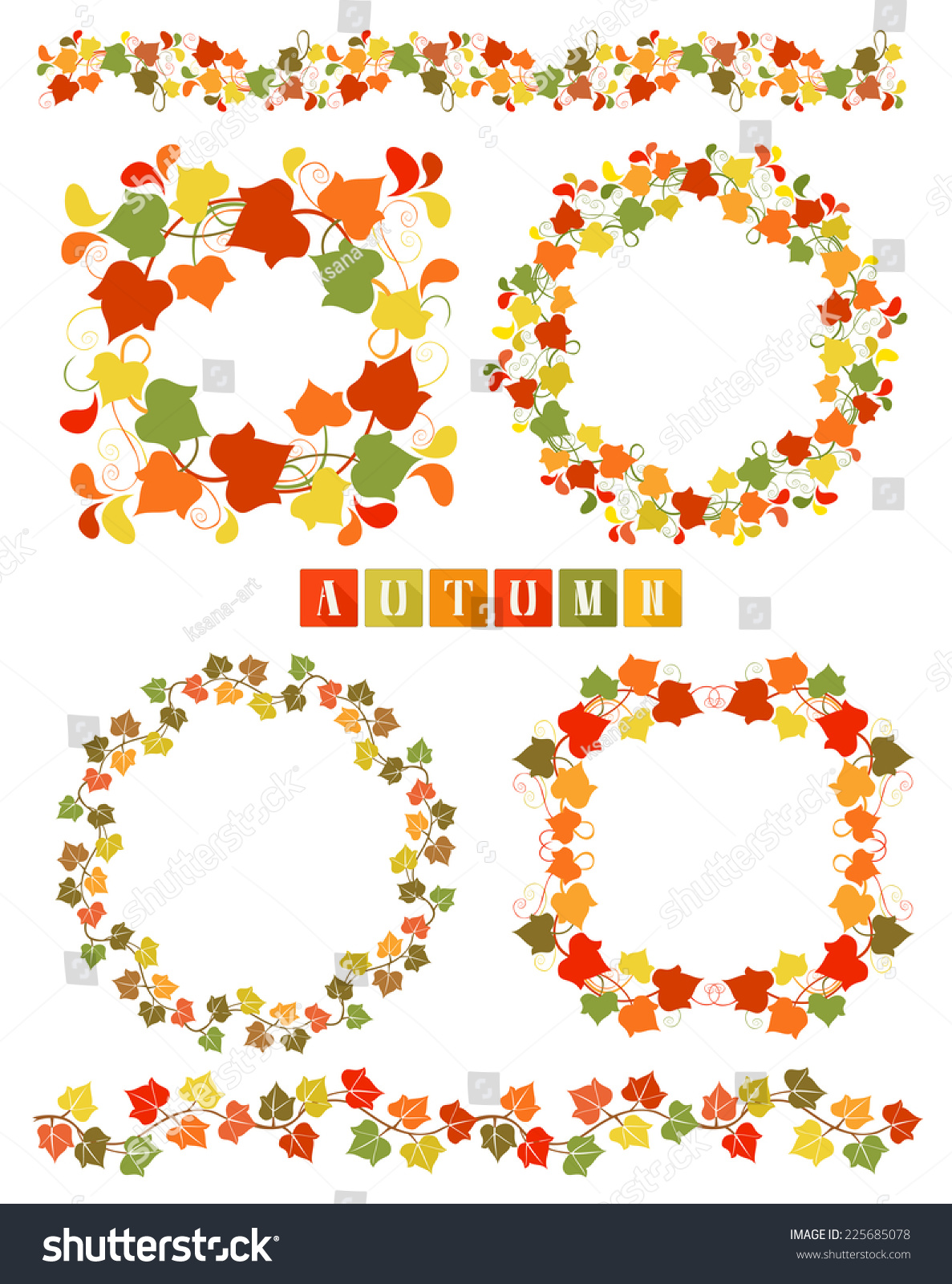 Set Of Wreaths And Dividers With Colorful Autumn Leaves. Isolated ...