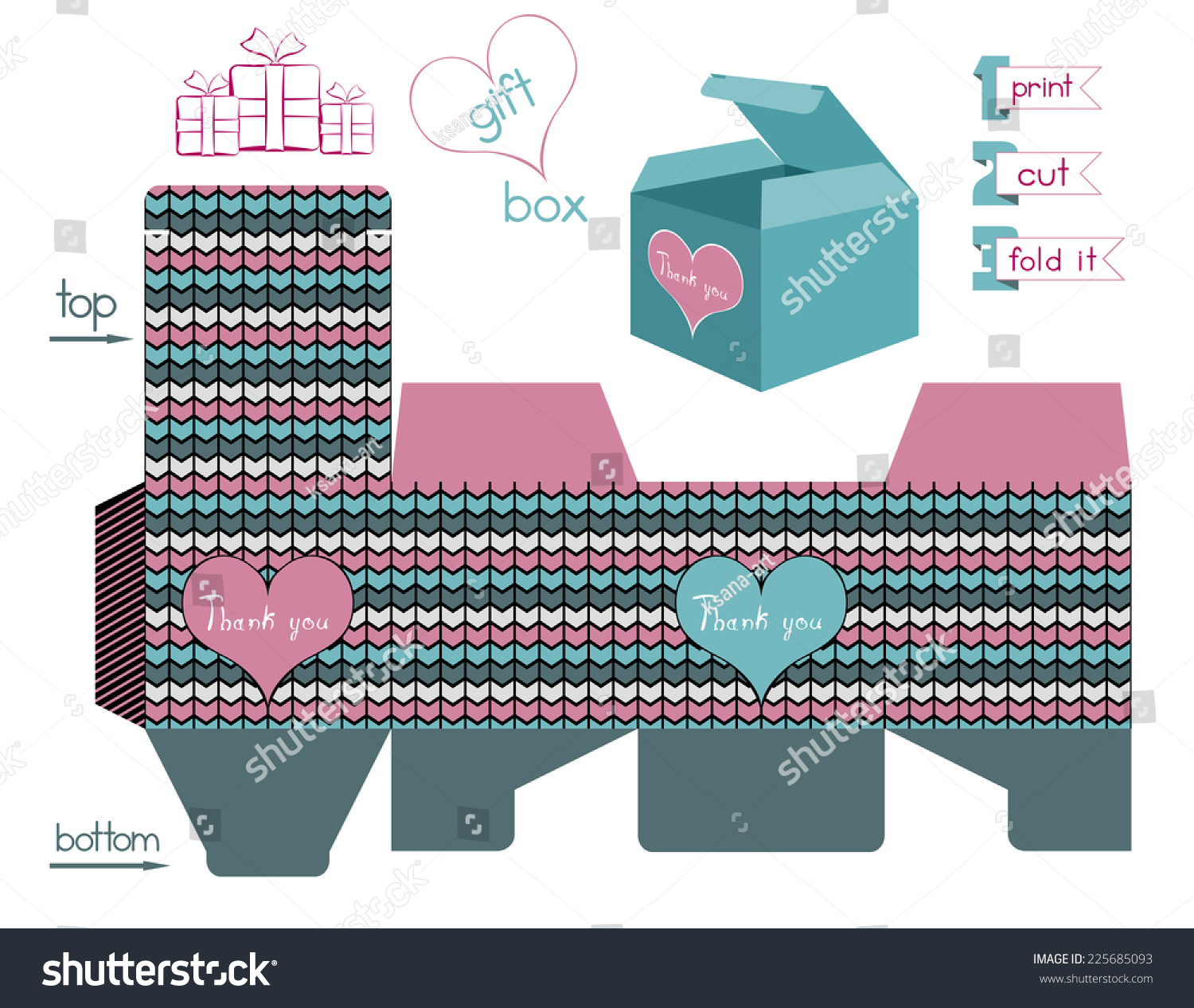 Printable Gift Box Chevron Pattern Template Stock Vector Royalty