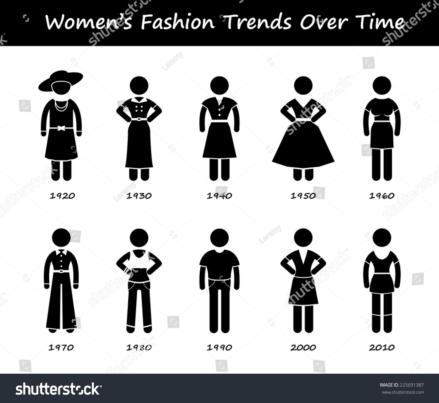 woman fashion trend timeline clothing wear stock vector