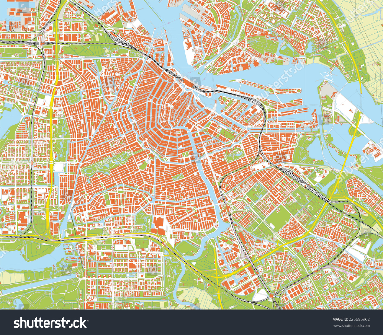 Amsterdam City Map Stock Vector 225695962 Shutterstock