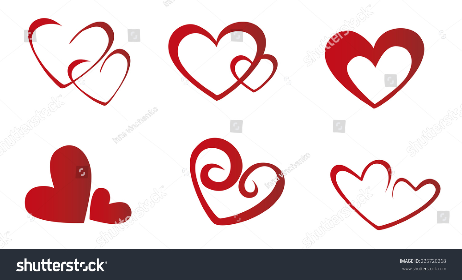 Valentines Day Set Heart Symbols Stock Vector Royalty Free