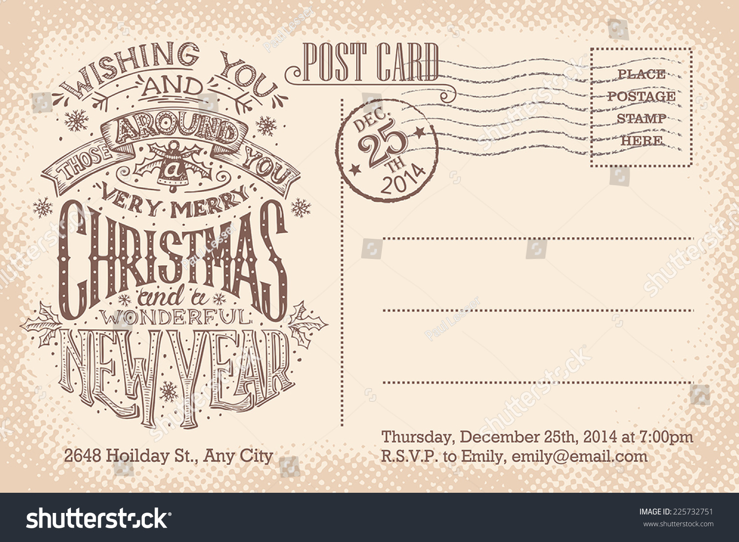 Vintage Christmas New Year Holiday Party Stock Vector 225732751 ...