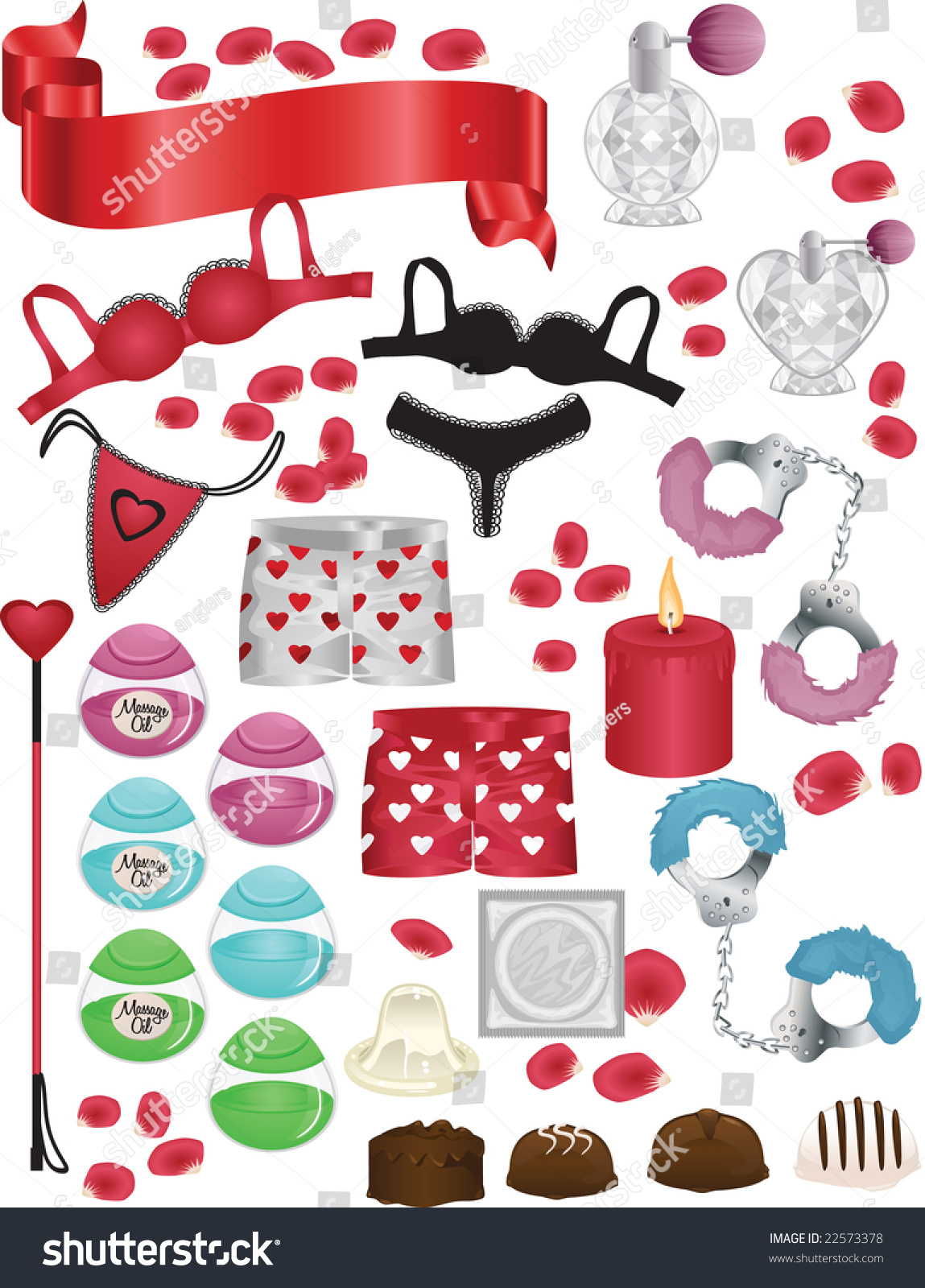 Naughty Valentines Day Vector Elements Set