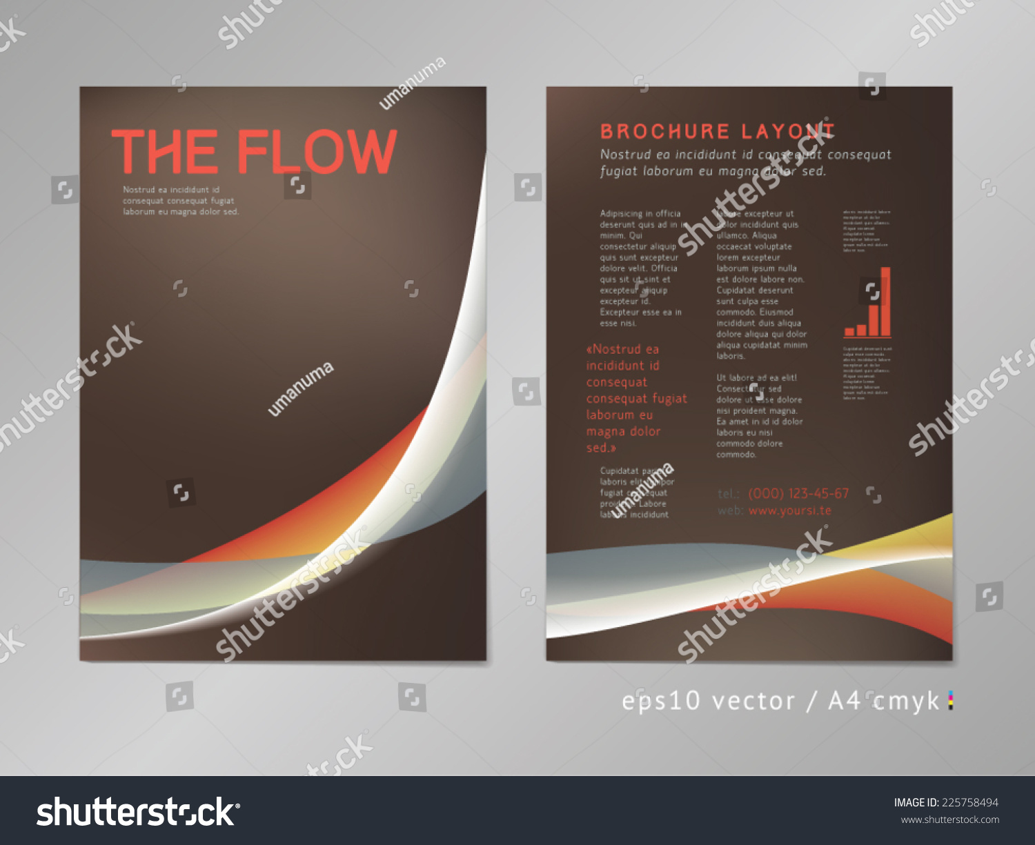 Leaflet brochure cover page layout template color blend design geometric soft
