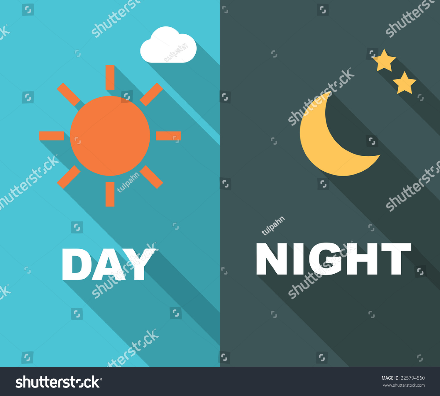 day night long shadow flat vector stock vector 225794560 shutterstock. Black Bedroom Furniture Sets. Home Design Ideas