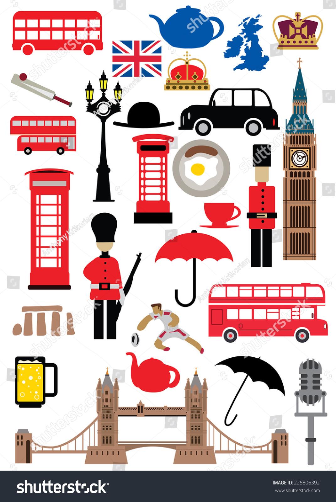 UK Icons Set United Kingdom Flag Stock-Vektorgrafik (Lizenzfrei ...