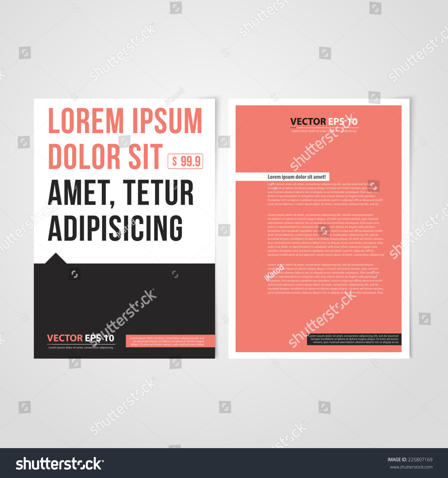 flyer template back front design brochure stock vector 225807169 shutterstock