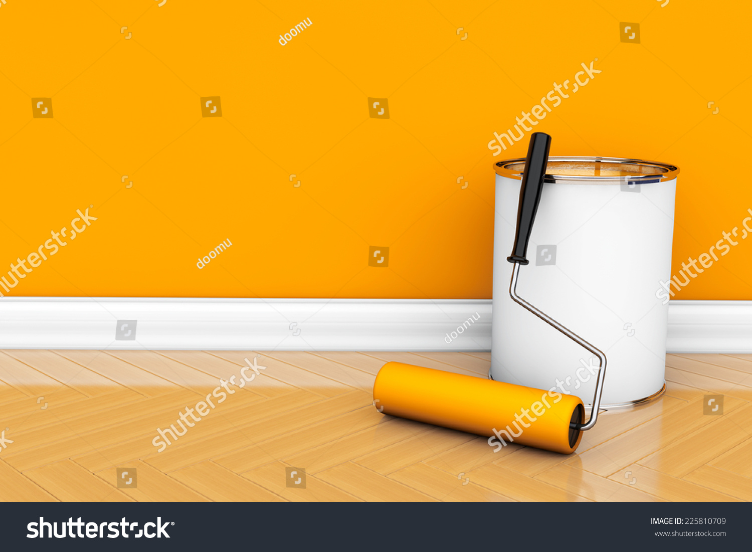 Painting Walls Orange Color Paint Can Stock Illustration 225810709 ...