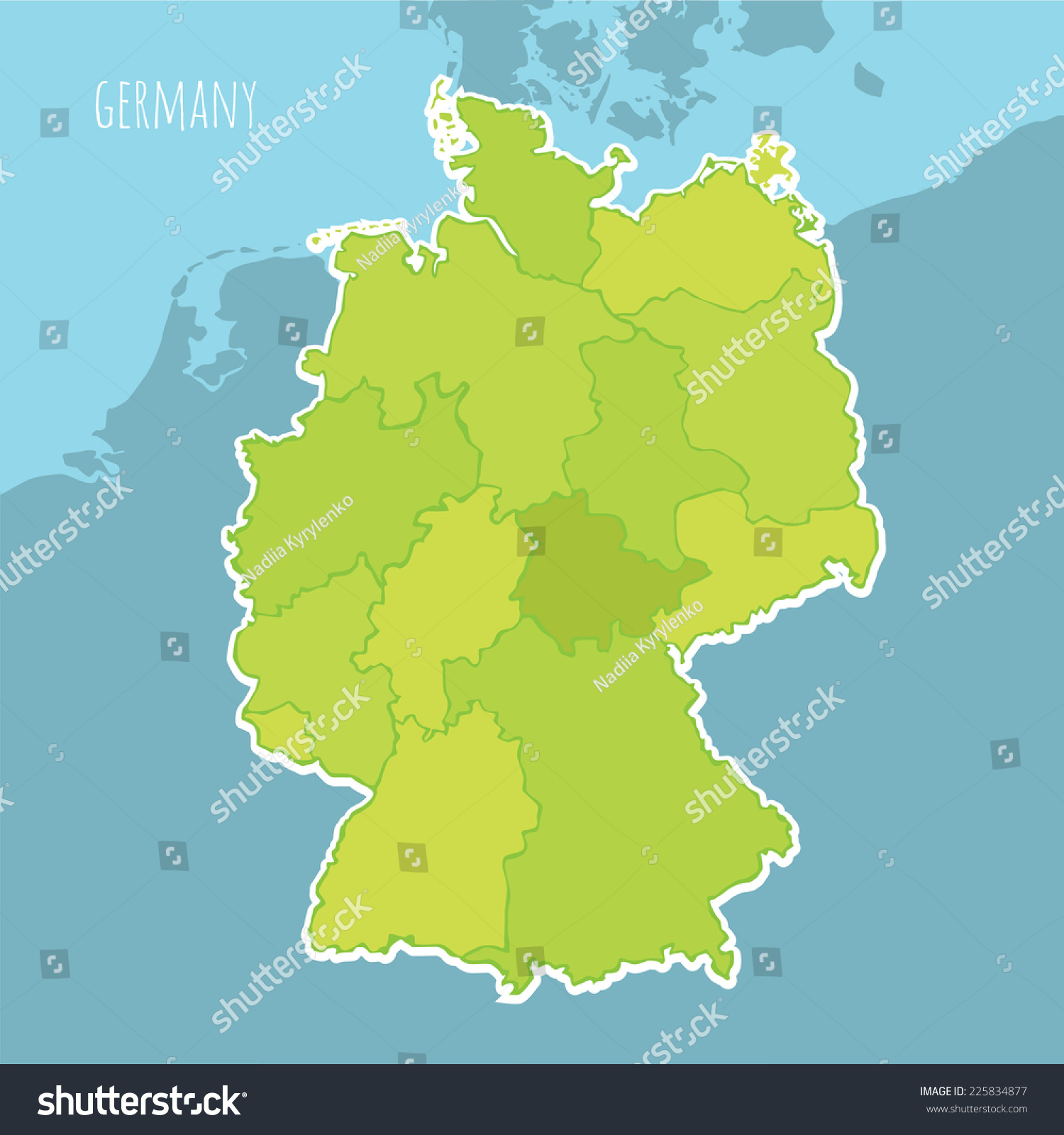 vector map of germany divided into the regions