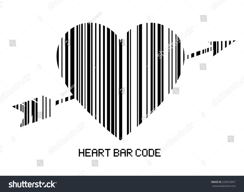 Barcode style heart shape arrow amor stock vector 225872857 the barcode style heart shape with the arrow of amor heart bar code black buycottarizona Choice Image