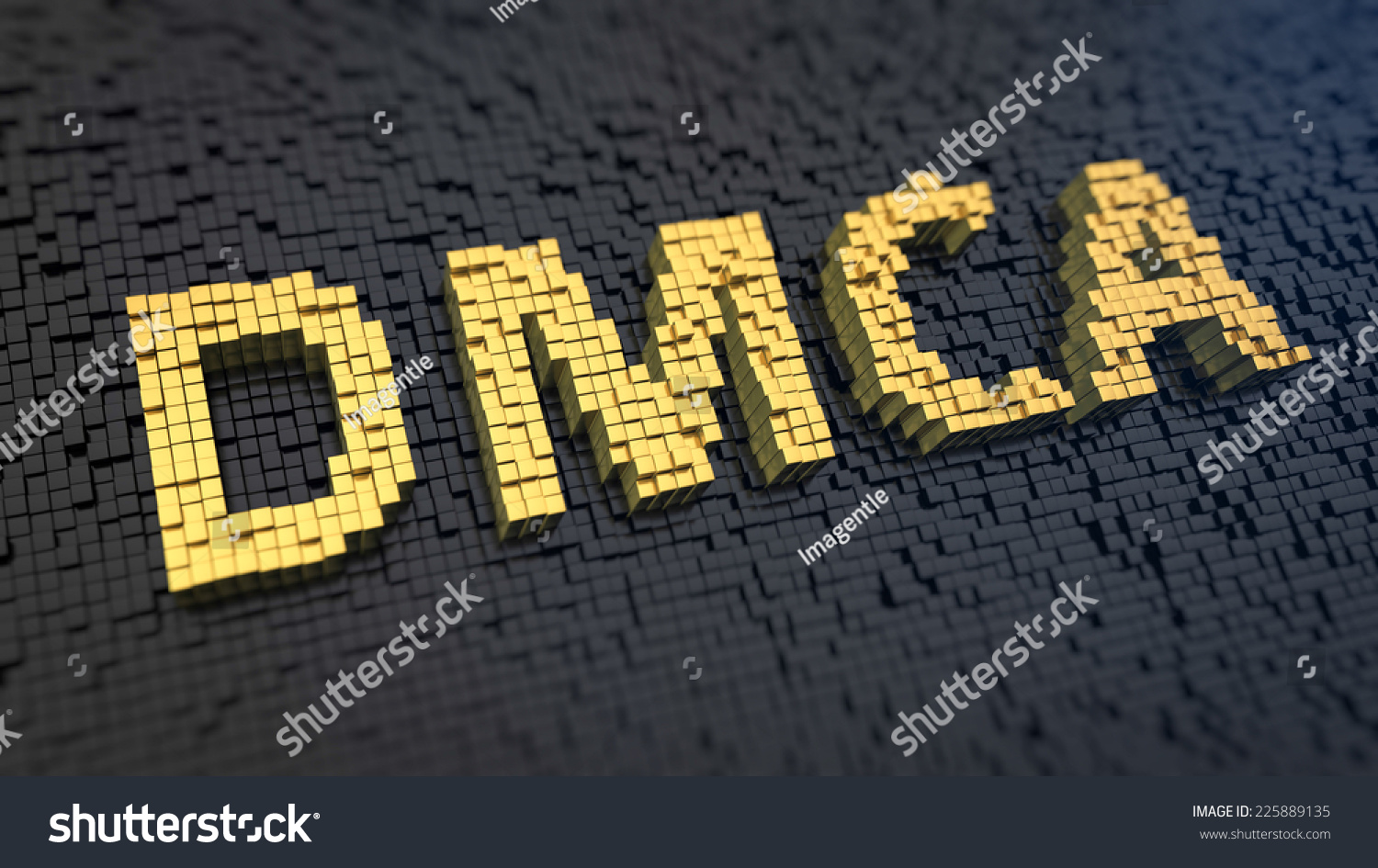 Acronym DMCA of the yellow square pixels on a black matrix background Internet copyright issue