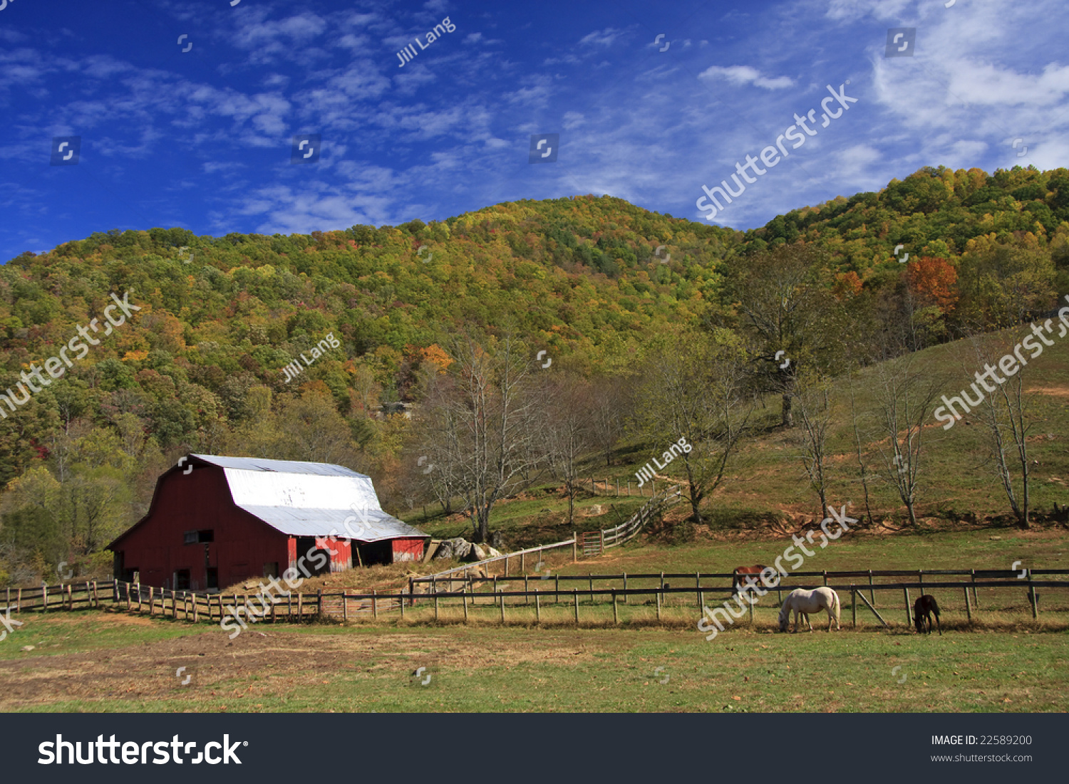 Old Barn Tin Roof Field Mountains Stock Photo 22589200