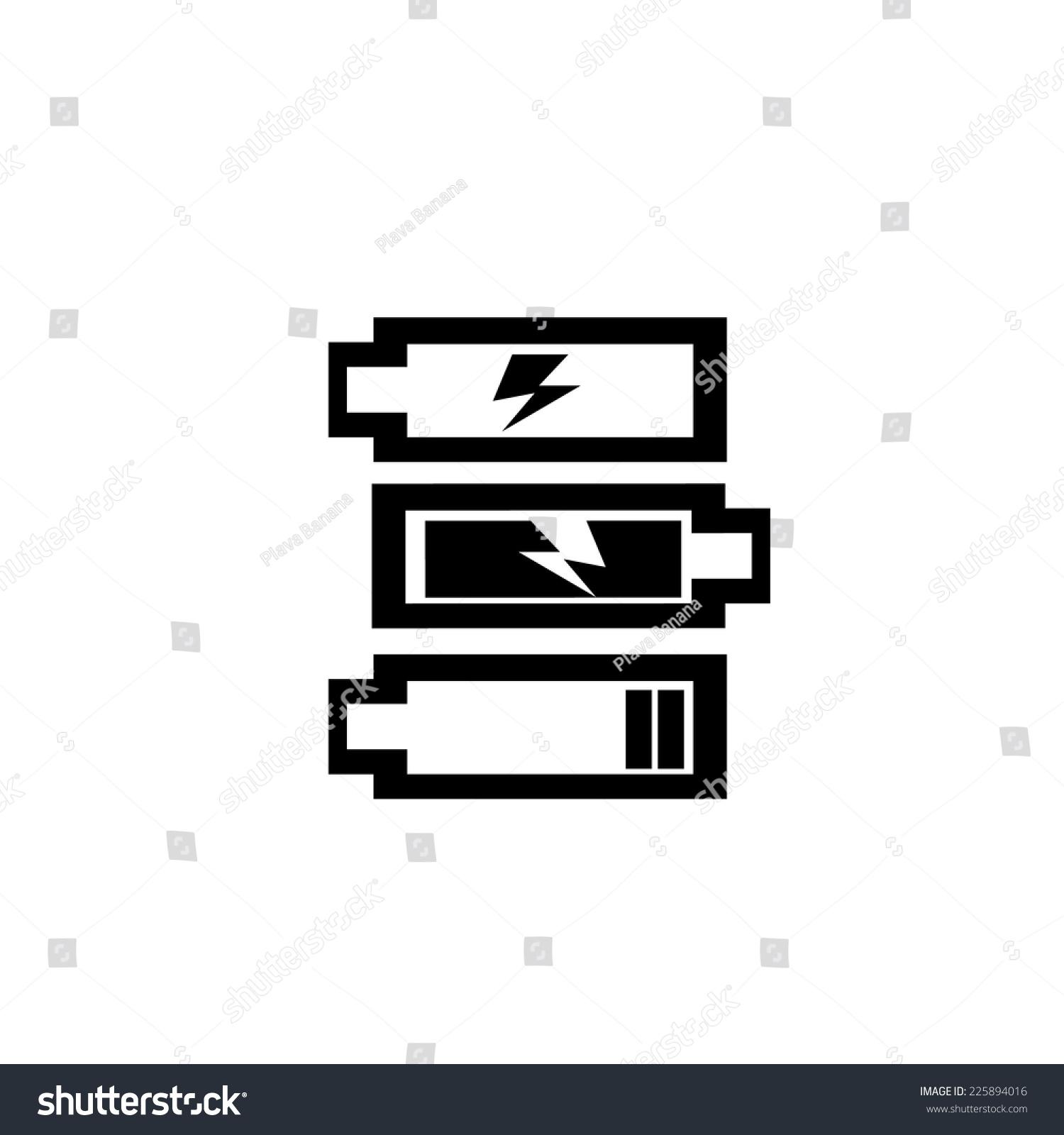Low Battery Full Battery Black White Stock Vector (2018) 225894016 ...
