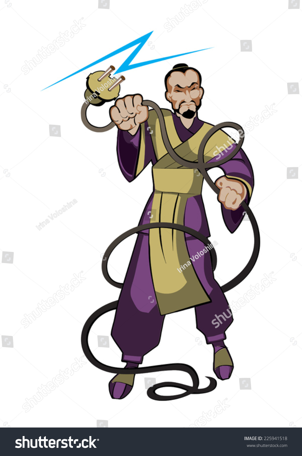 Samurai Keeps Electrical Wire His Hands Stock Vector 225941518 ...