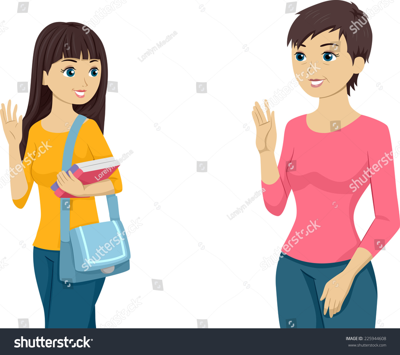 Illustration Featuring Teenaged Girl Waving Goodbye Stock