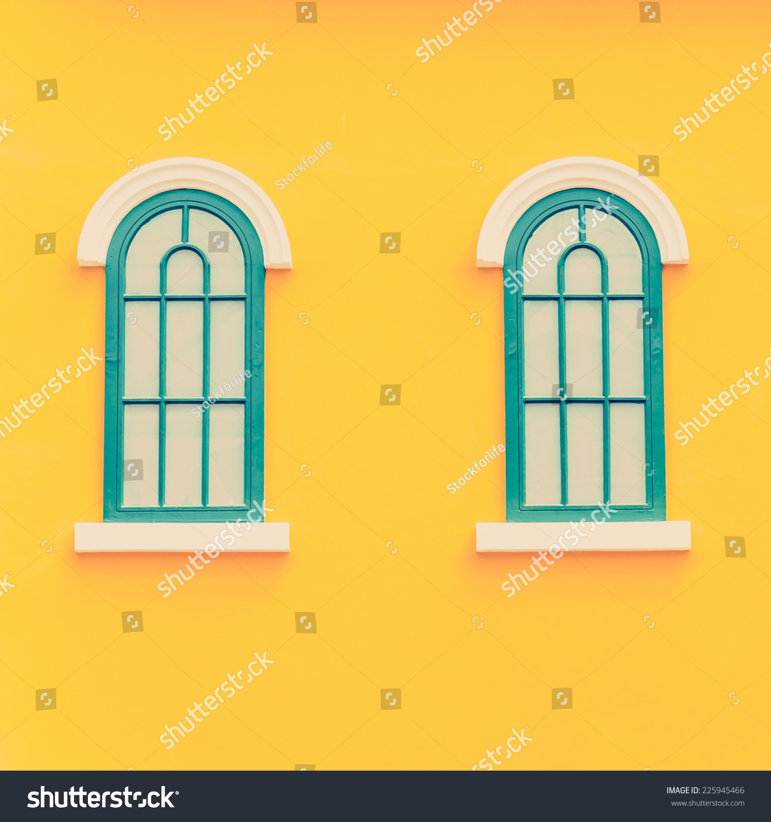 Beautiful Window On Color Wall Process Stock Photo (Royalty Free ...