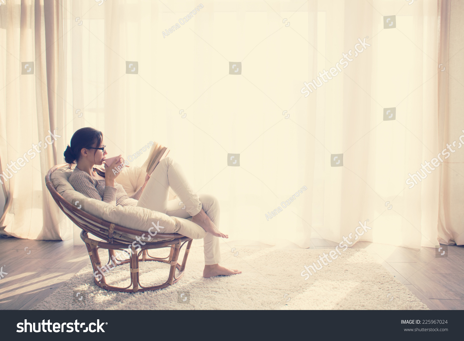 Living Room Sitting Chairs Young Woman Home Sitting On Modern Stock Photo 225967024