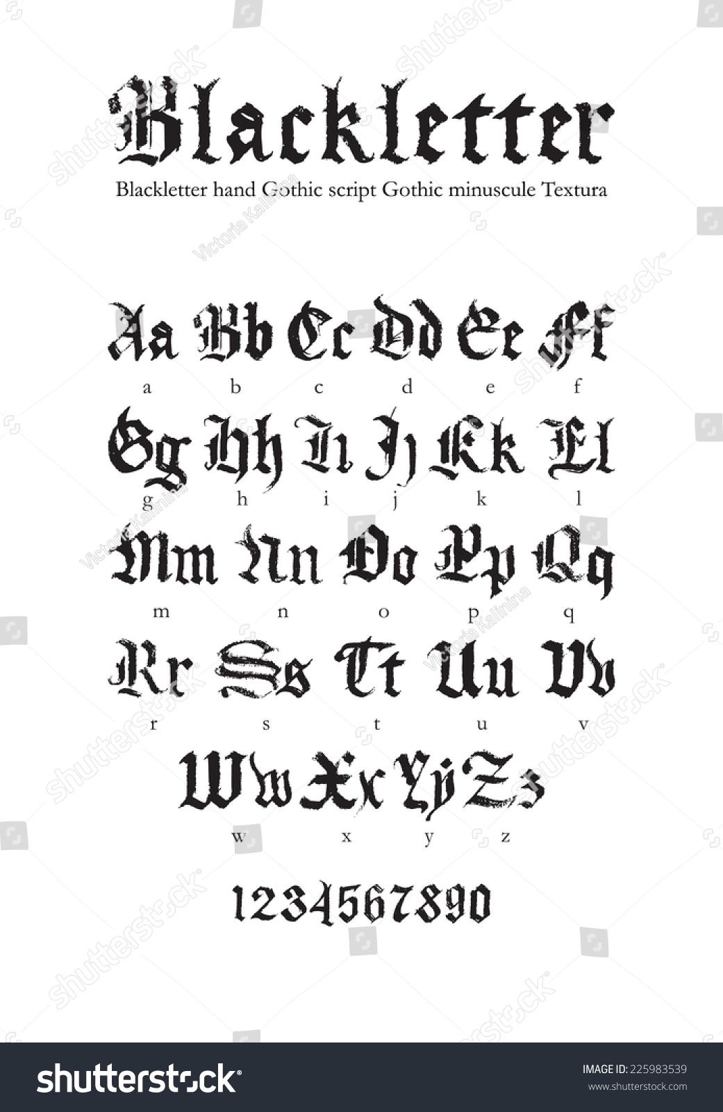 Blackletter Gothic Script Handdrawn Font Stock Vector