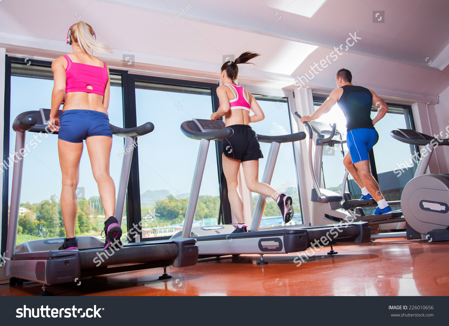gym shot - people running on machines, treadmill #226010656