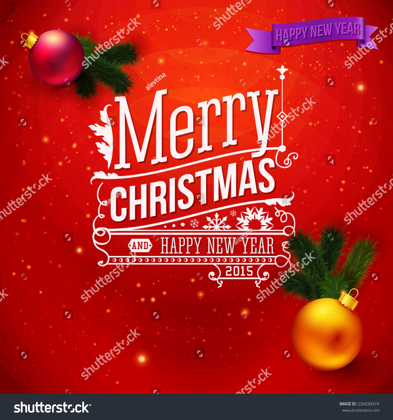 Red Traditional Christmas Card Typography Design Stock Vector ...