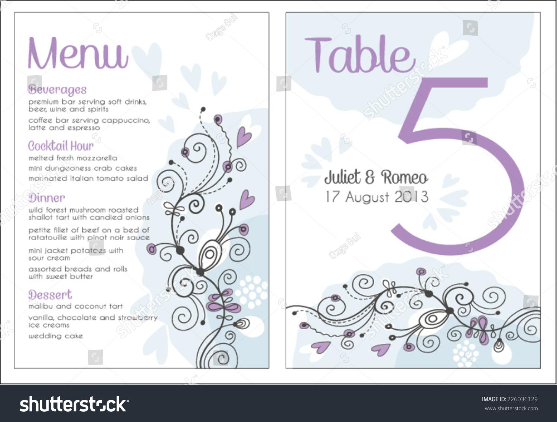 Set Floral Wedding Invitation Template Purple Stock Photo (Photo ...