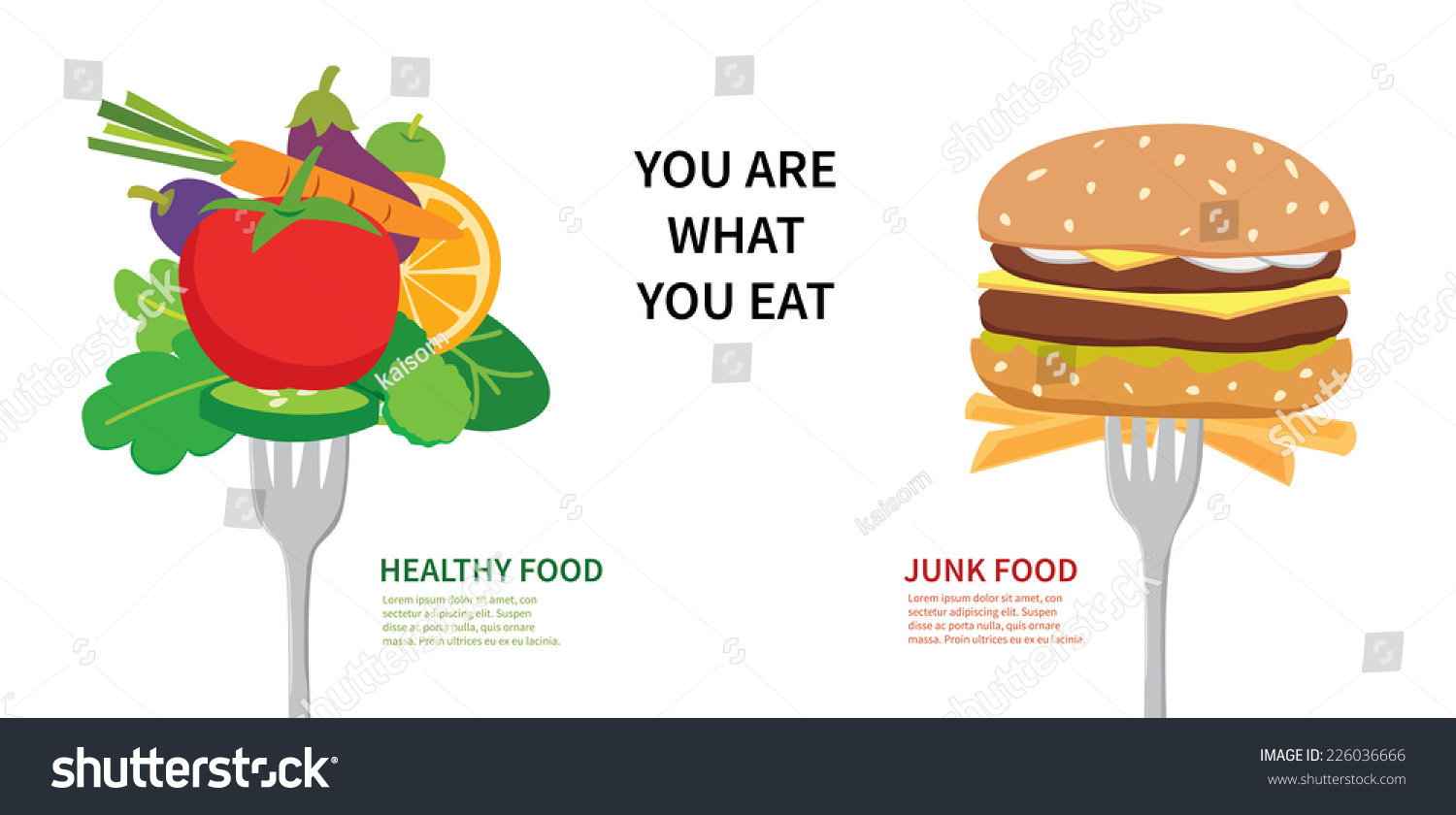 Food Concept You Are What You Eat Choose Between Healthy Food And