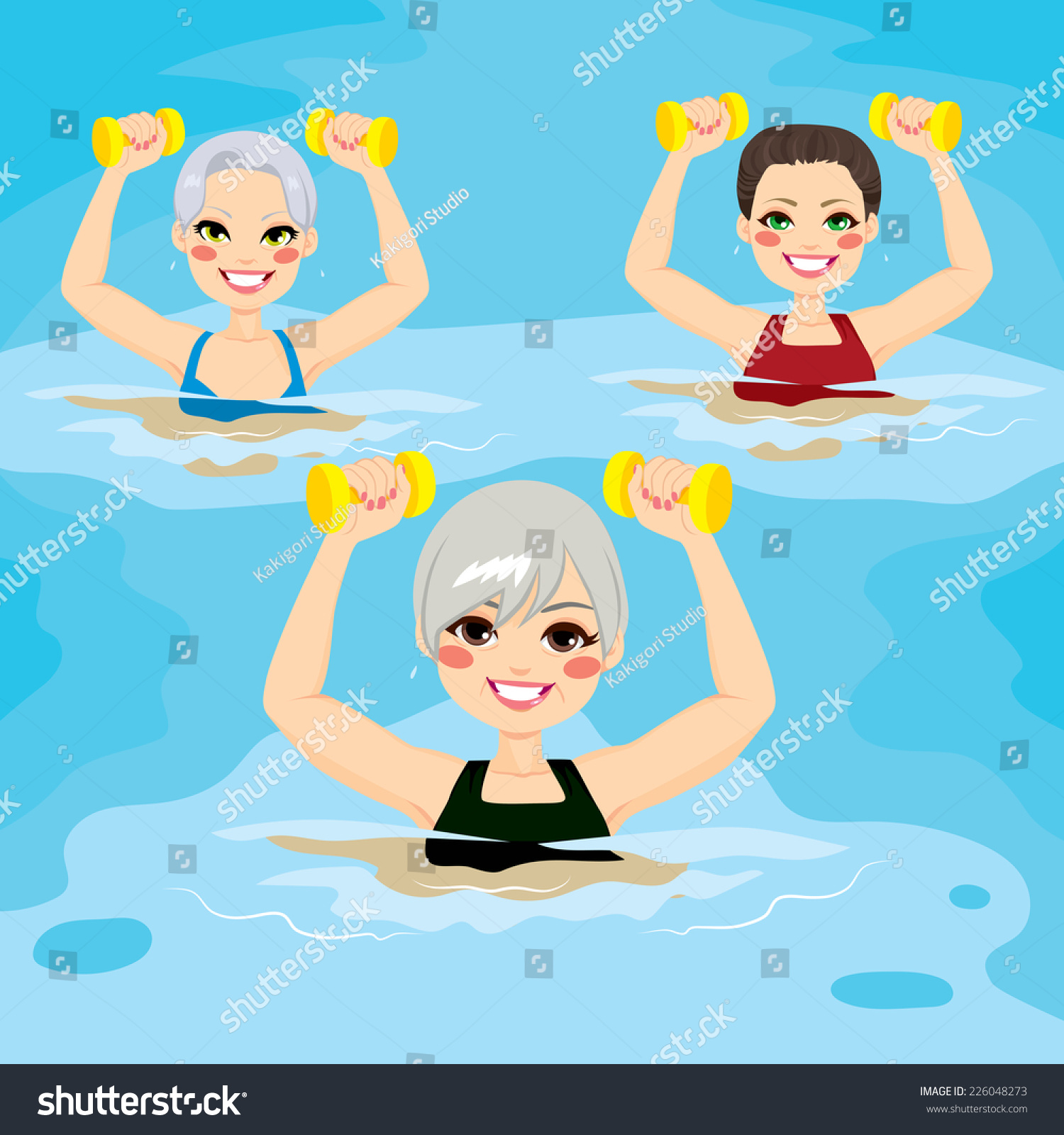 Small Group Of Senior Women Making Aqua Gym Exercises With Dumbbells In Swimming Pool At The