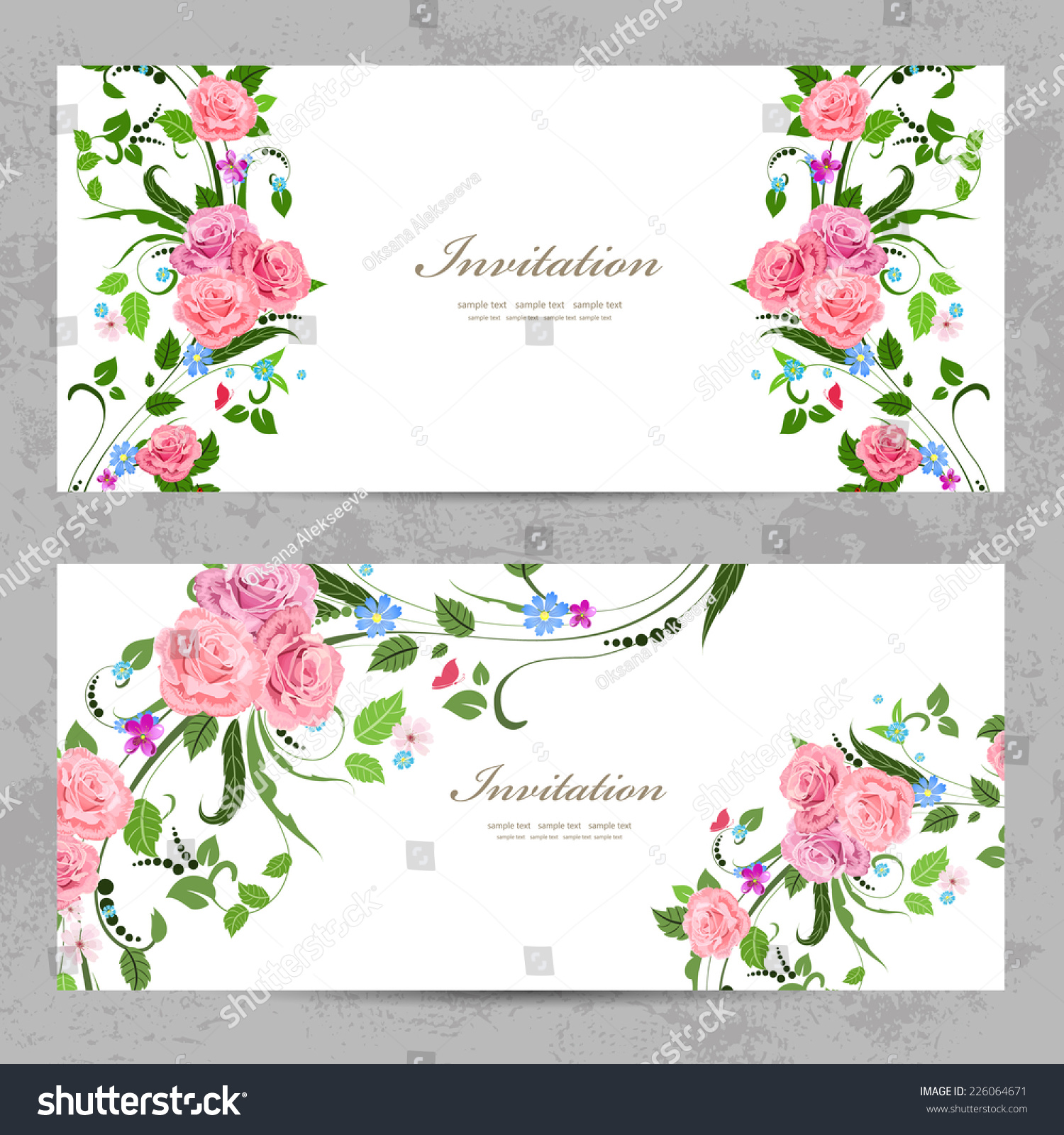 Invitation Cards With Beautiful Flowers For Your Design Ez Canvas