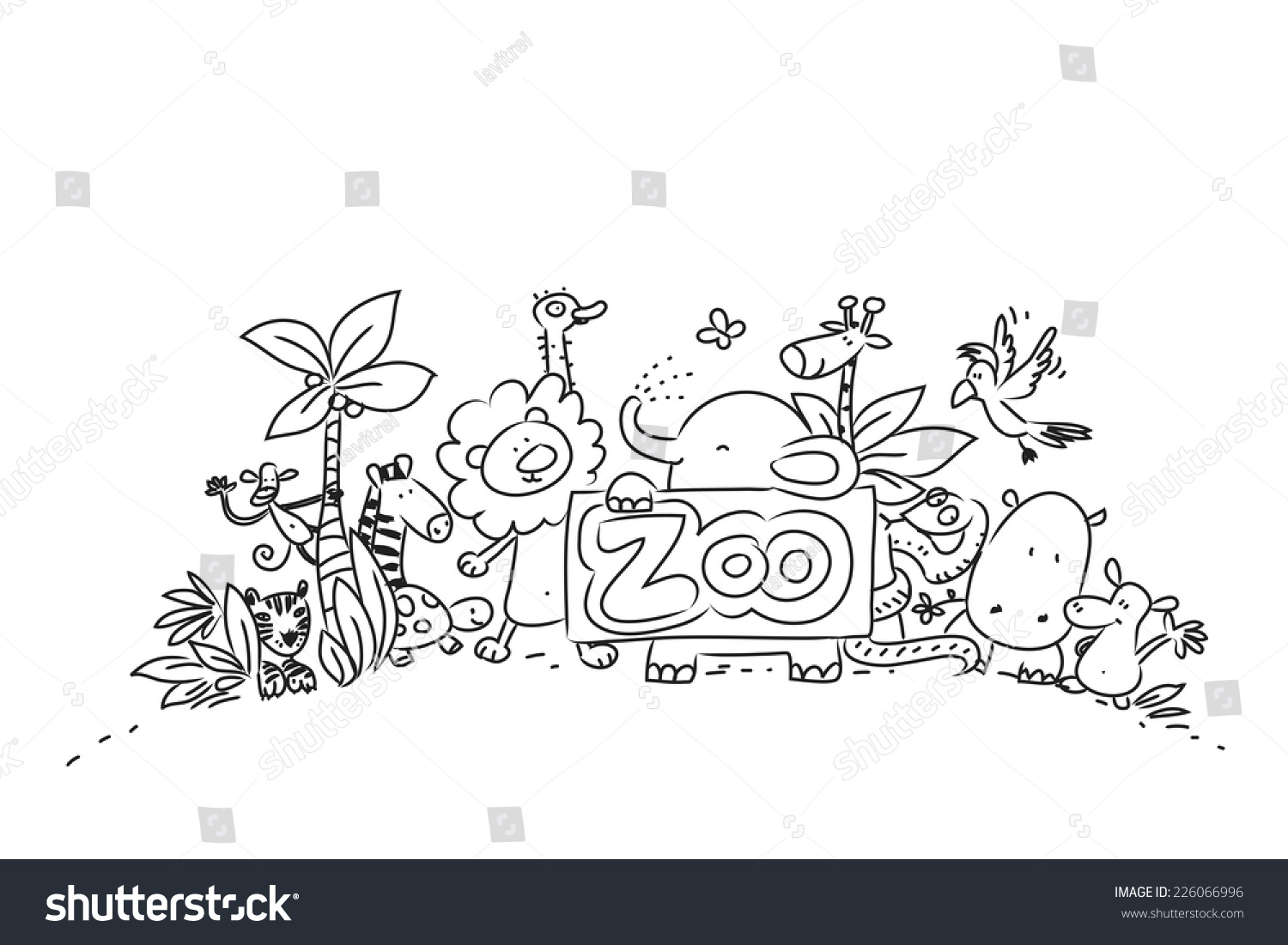 Line Drawing Zoo : Cute zoo animals vector illustration line stock
