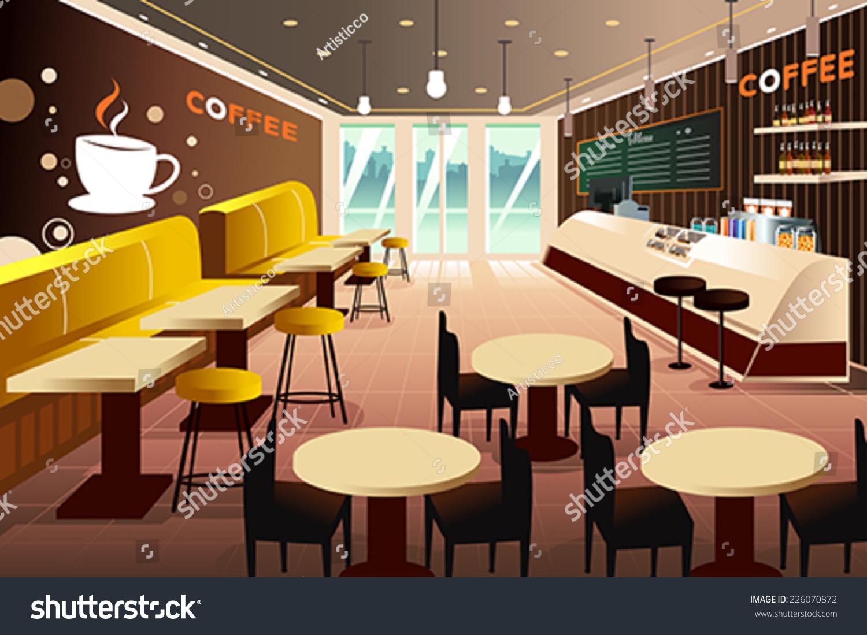 Vector illustration interior modern coffee shop stock - Modern coffee shop interior ...