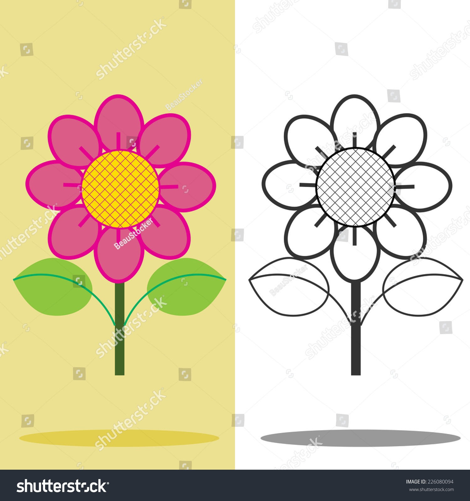 Pink flower flower icon vector stock vector 226080094 shutterstock pink flower and flower icon vector dhlflorist Images
