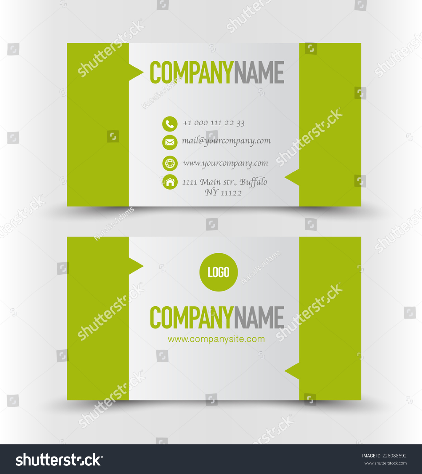 Business card set templategreen silver grey stock vector 226088692 business card set templateeen and silver grey color vector illustration magicingreecefo Choice Image