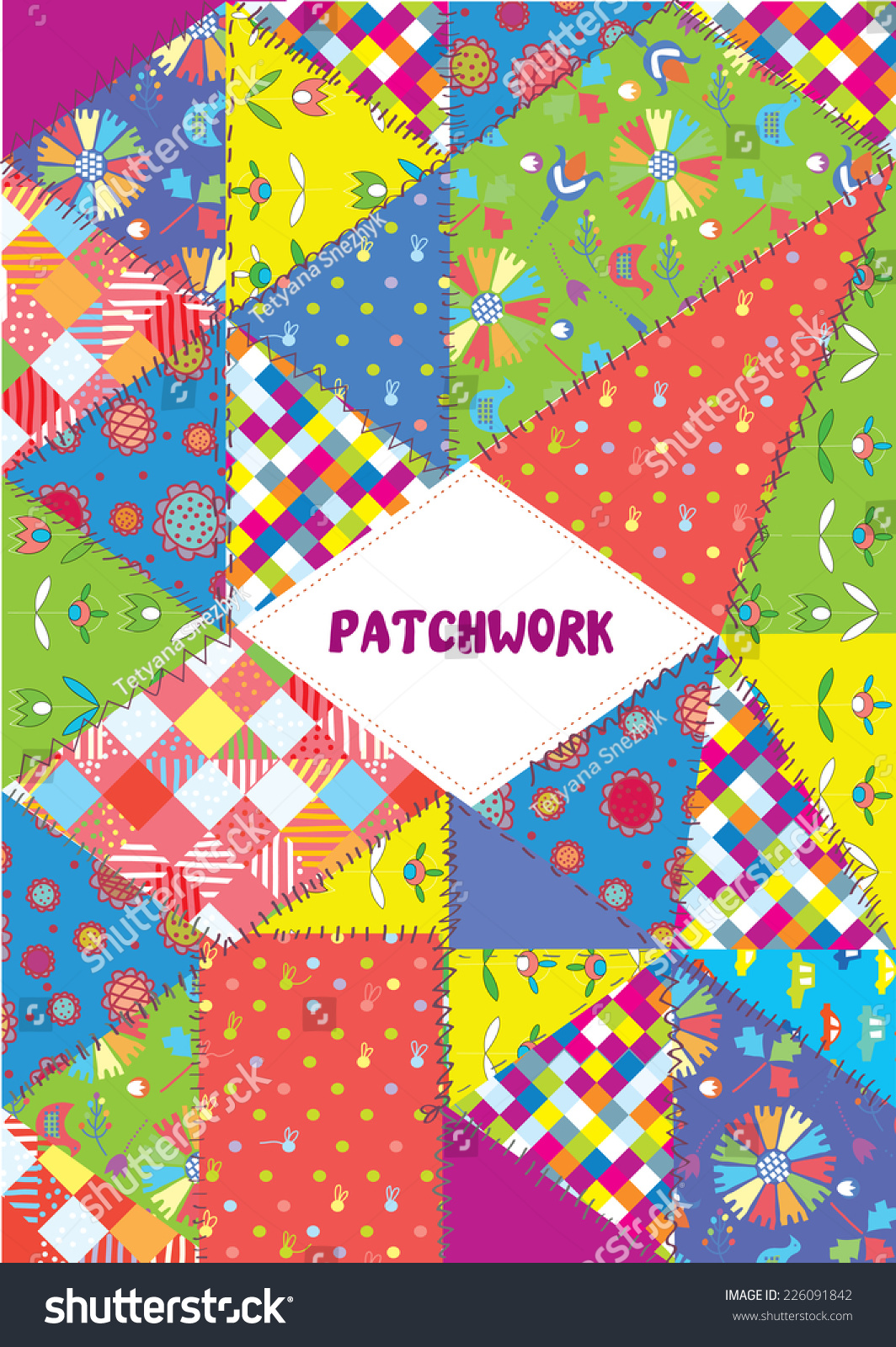 Patchwork Book Cover Pattern : Patchwork cover placard funny design patterns stock vector
