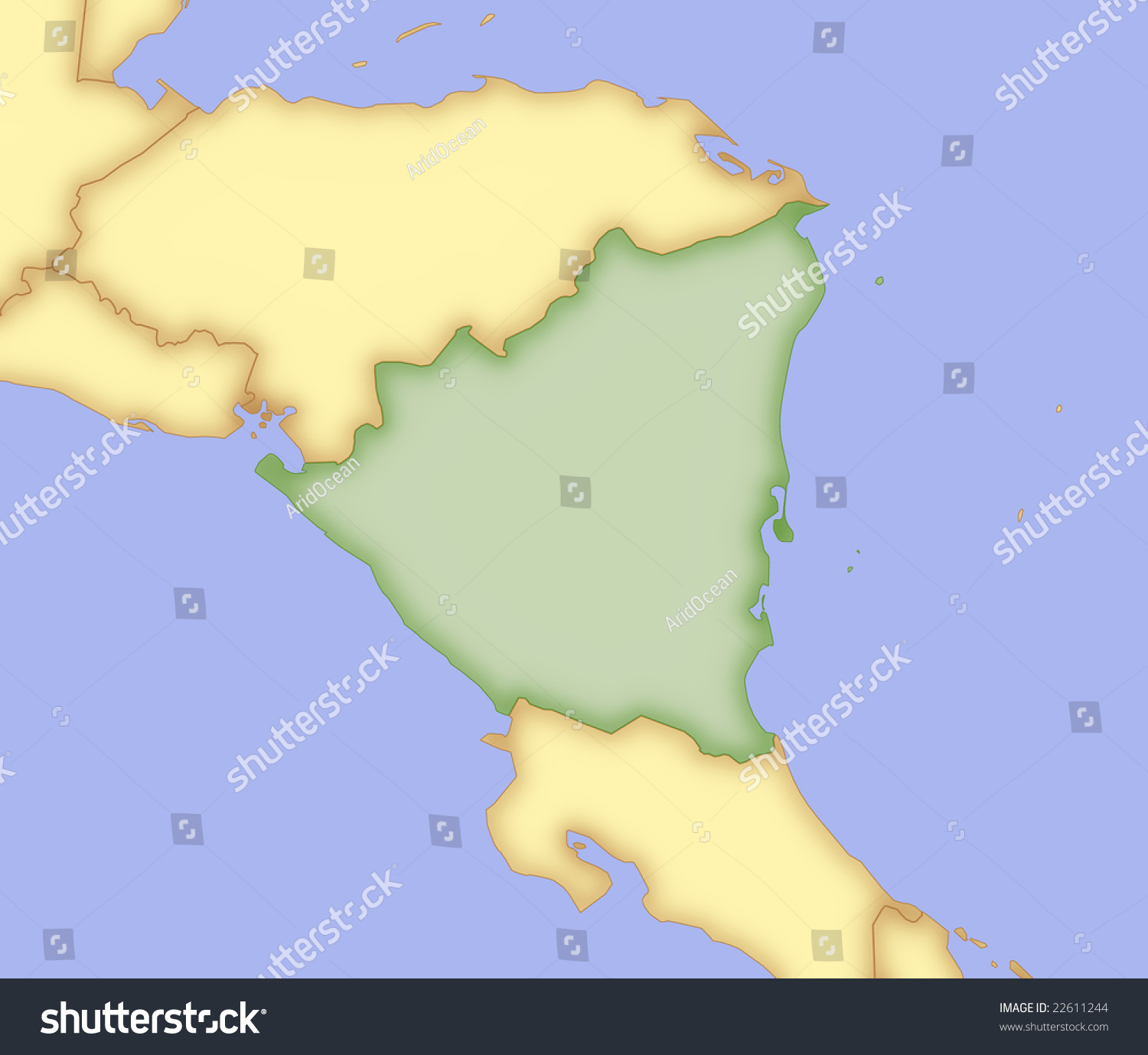 Map nicaragua borders surrounding countries stock illustration map of nicaragua with borders of surrounding countries gumiabroncs Gallery