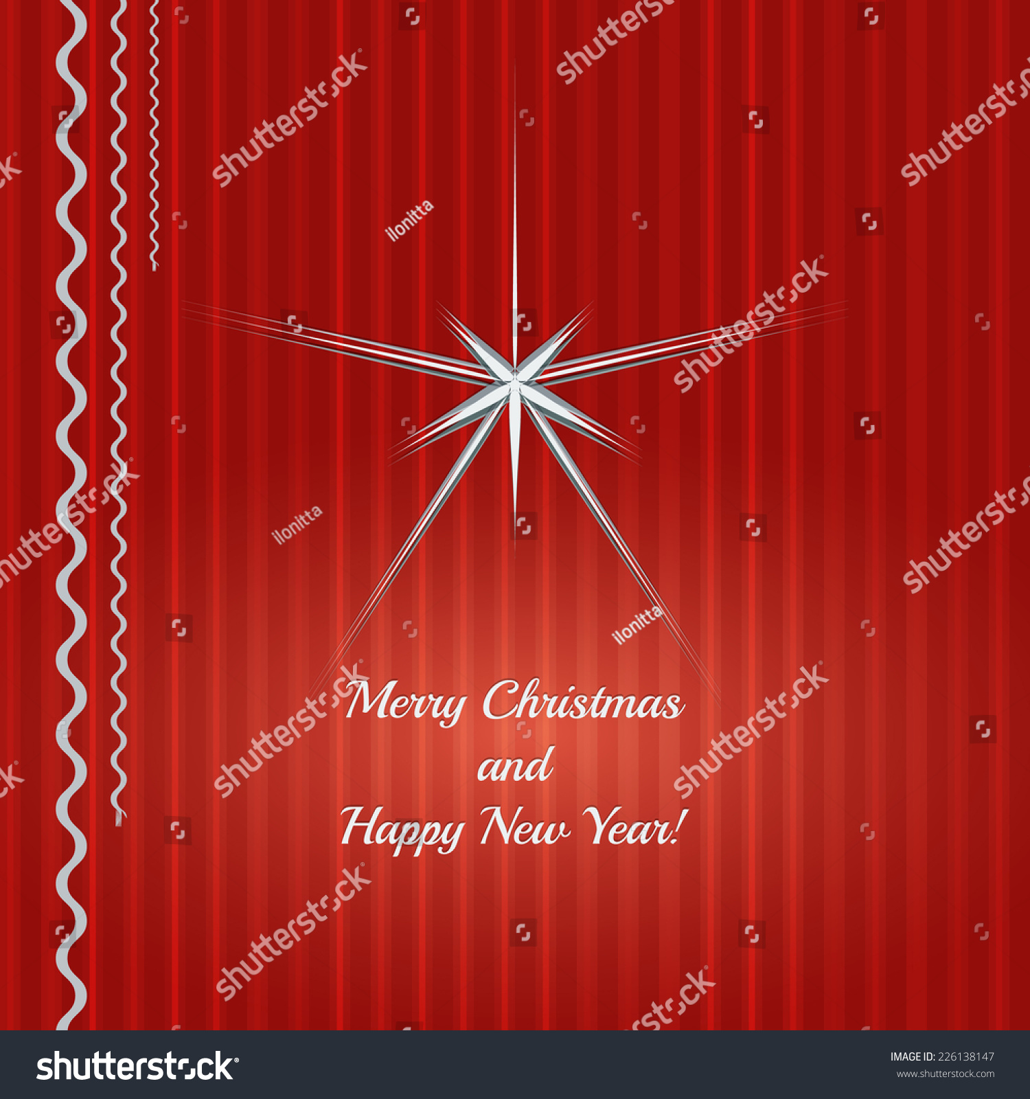 Merry christmas happy new year greeting stock vector 226138147 merry christmas and happy new year greeting card with red vertical stripped lines background and kristyandbryce Choice Image