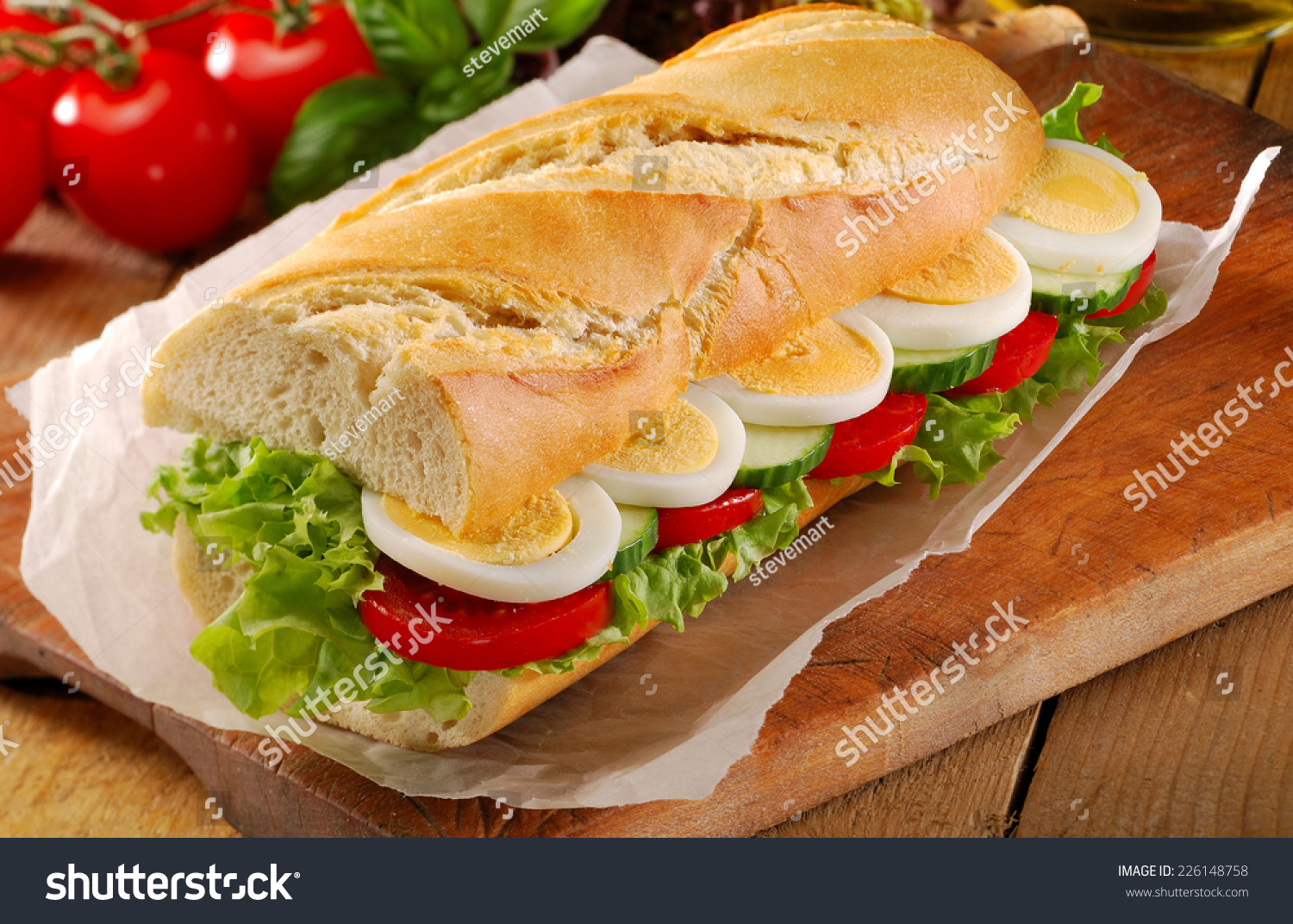 Egg Salad Sandwich On French Bread Baguette. Stock Photo ...