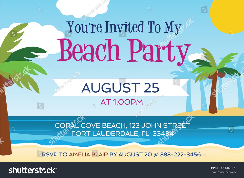 Beach Party Invitation Vector 226160305 Shutterstock – Beach Party Invitation