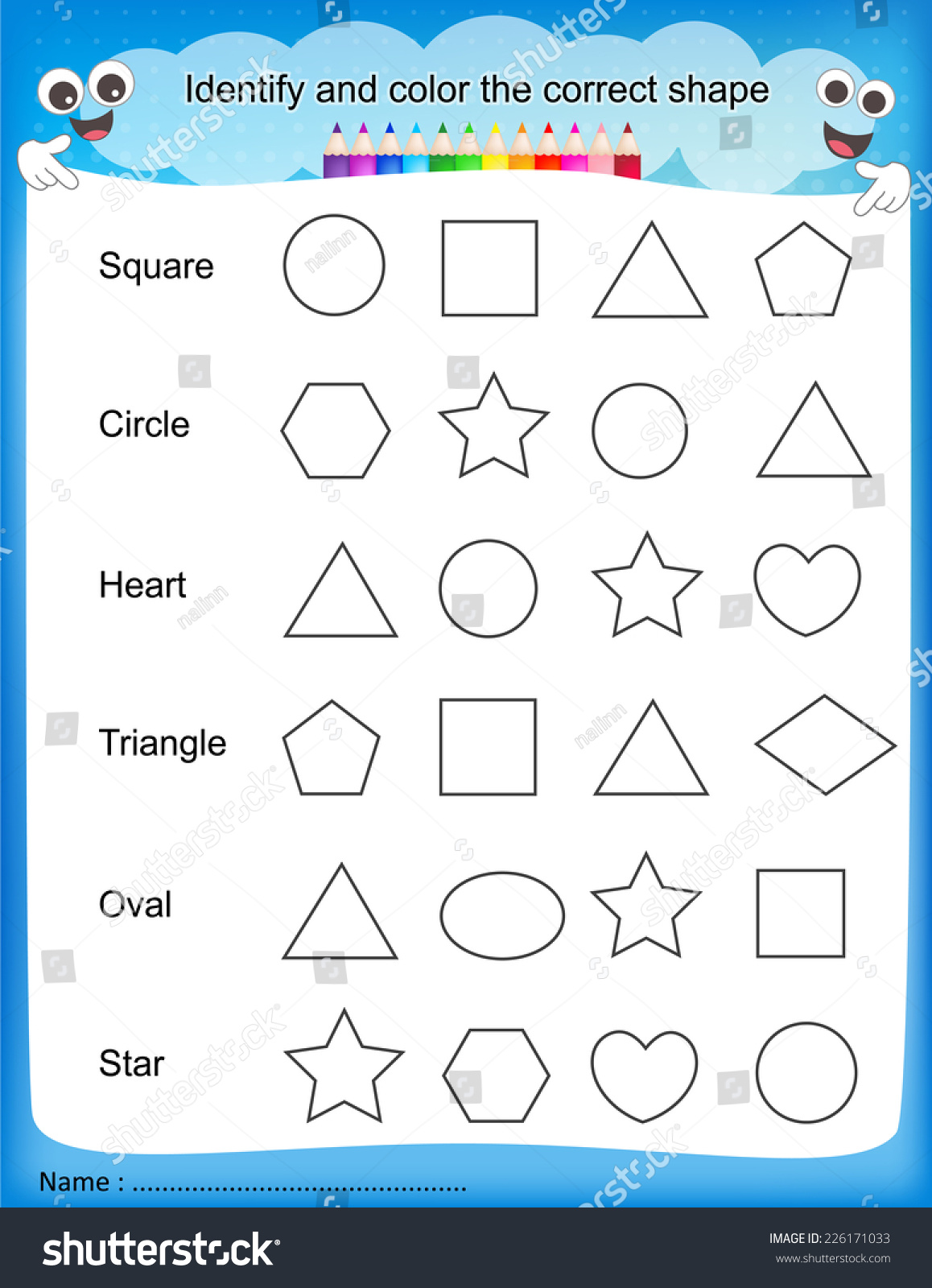 worksheet Identify Shapes Worksheet identify color correct shape colorful printable stock vector and the kids worksheet for pre school kindergarten kids