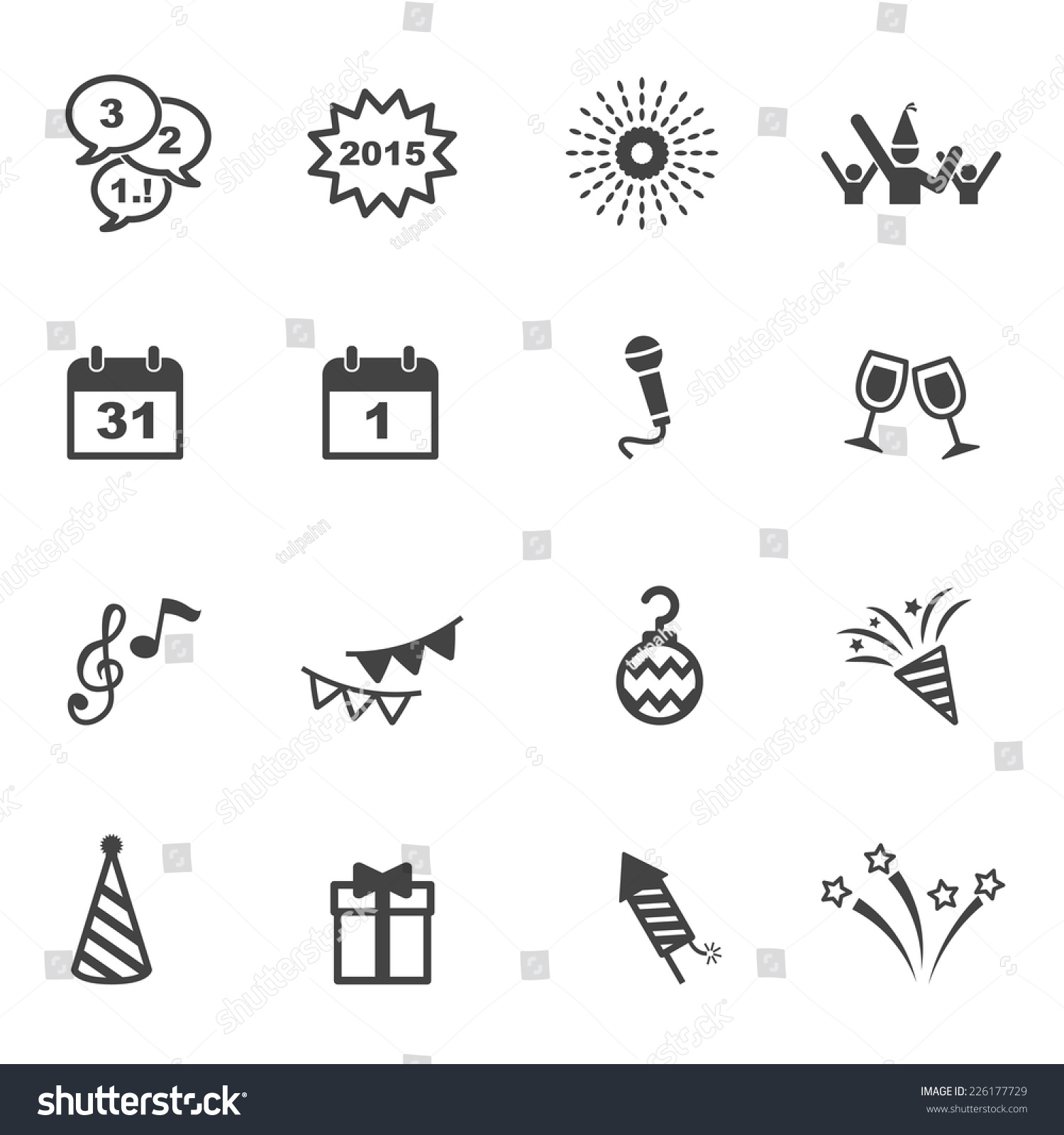 Happy New Year Icons Mono Vector Stock Vector 226177729 Shutterstock
