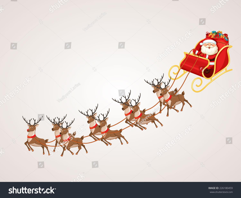 Santa Claus Rides Reindeer Sleigh. Christmas Vector ...