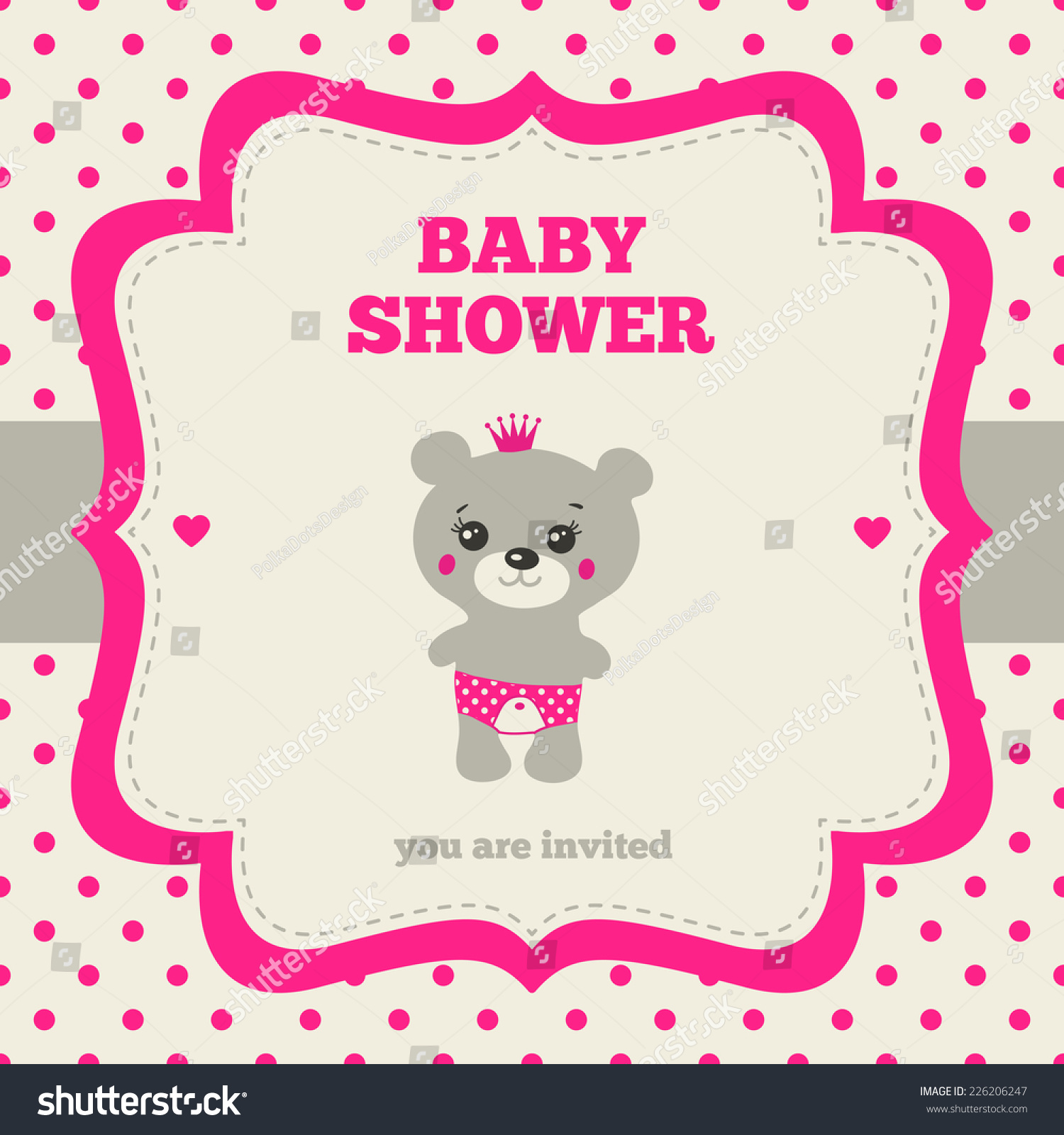 baby shower invitation template gray bright pink and cream colors
