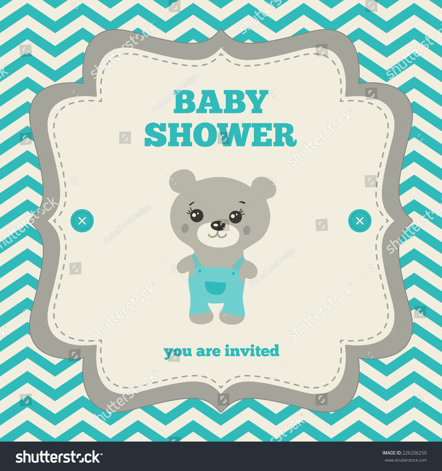 Baby Shower Invitation Template Gray Blue Stock Vector HD (Royalty ...