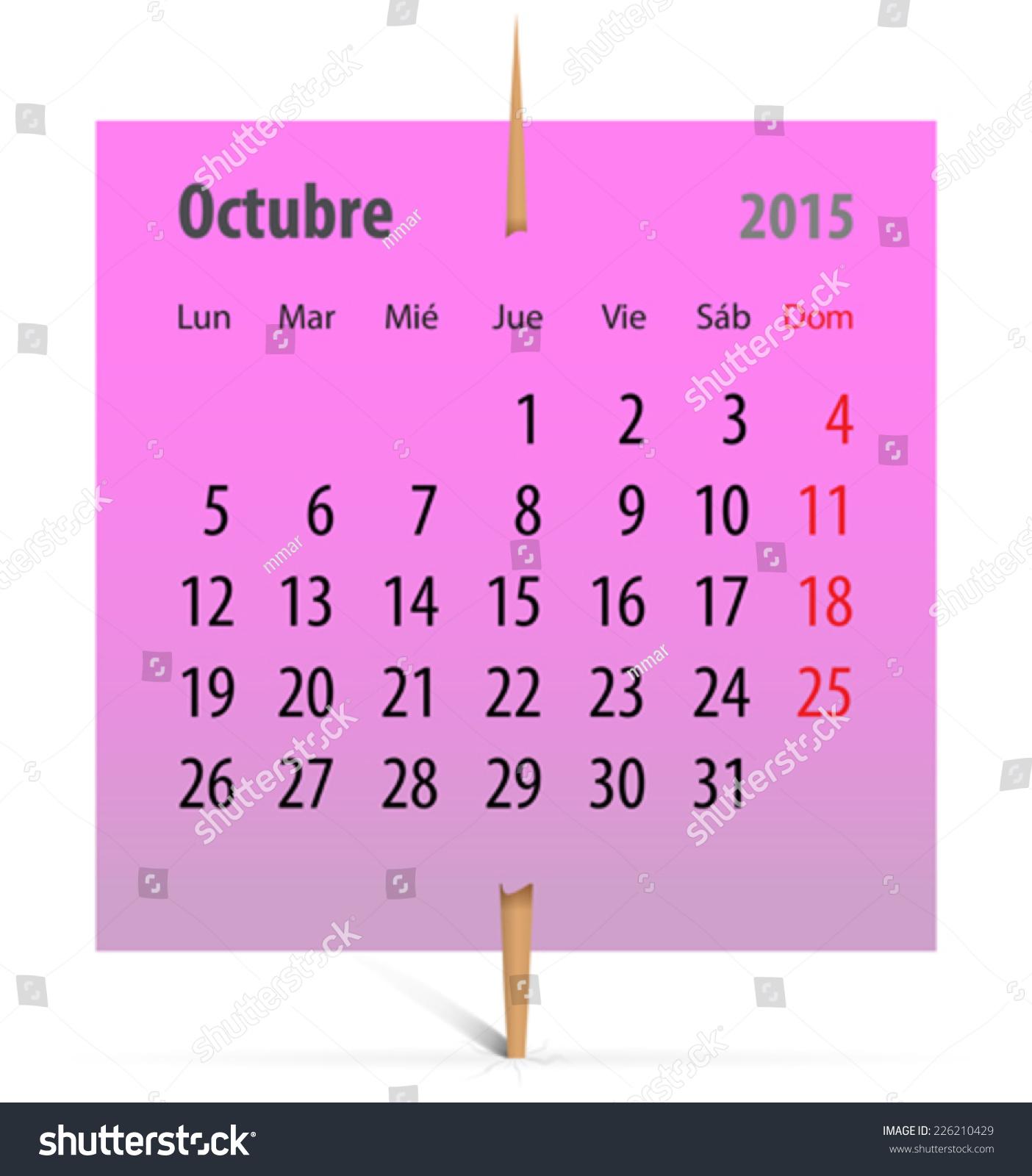 October Calendar 2015 Pink