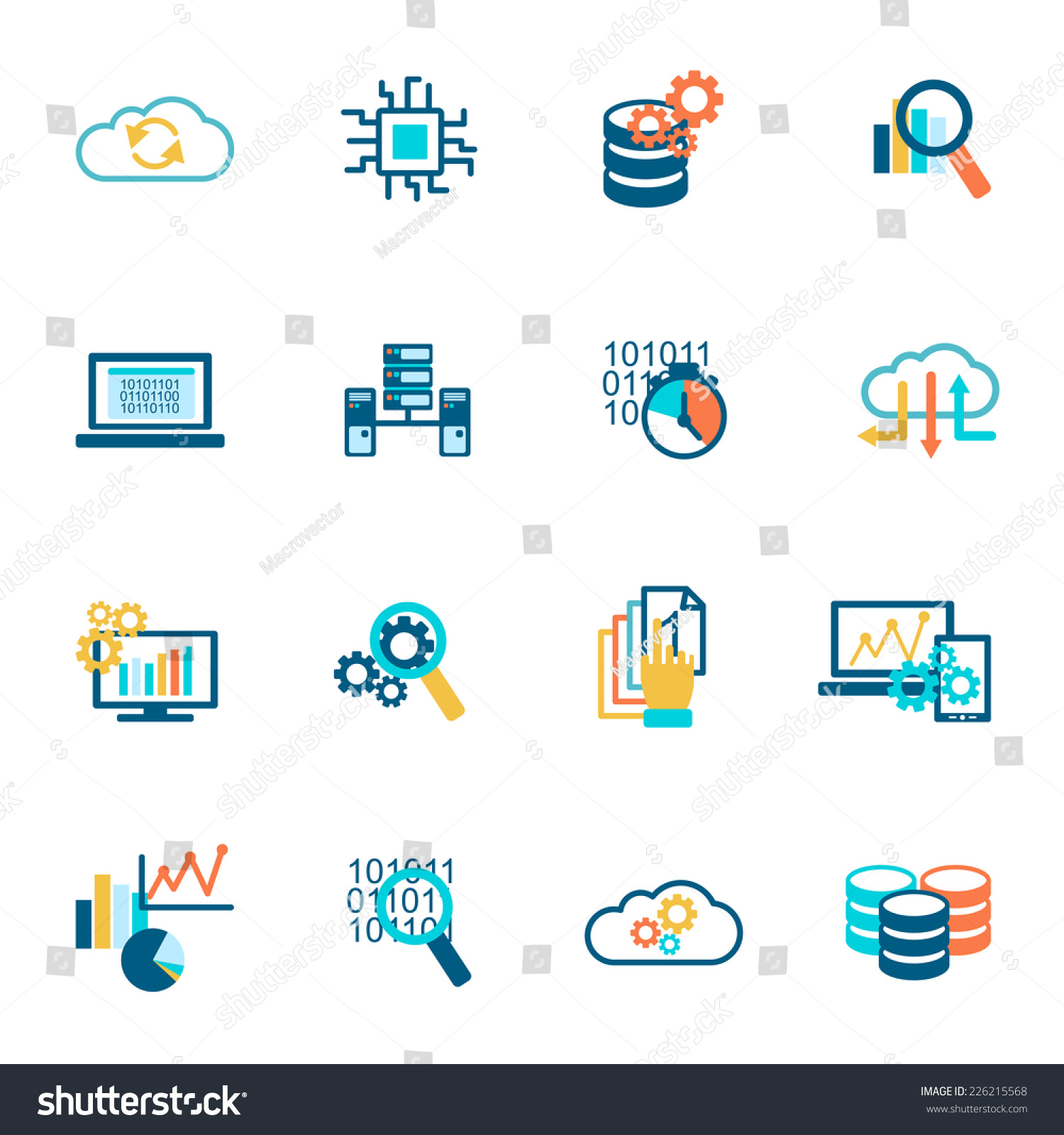 Database analytics information technology network management icons ...