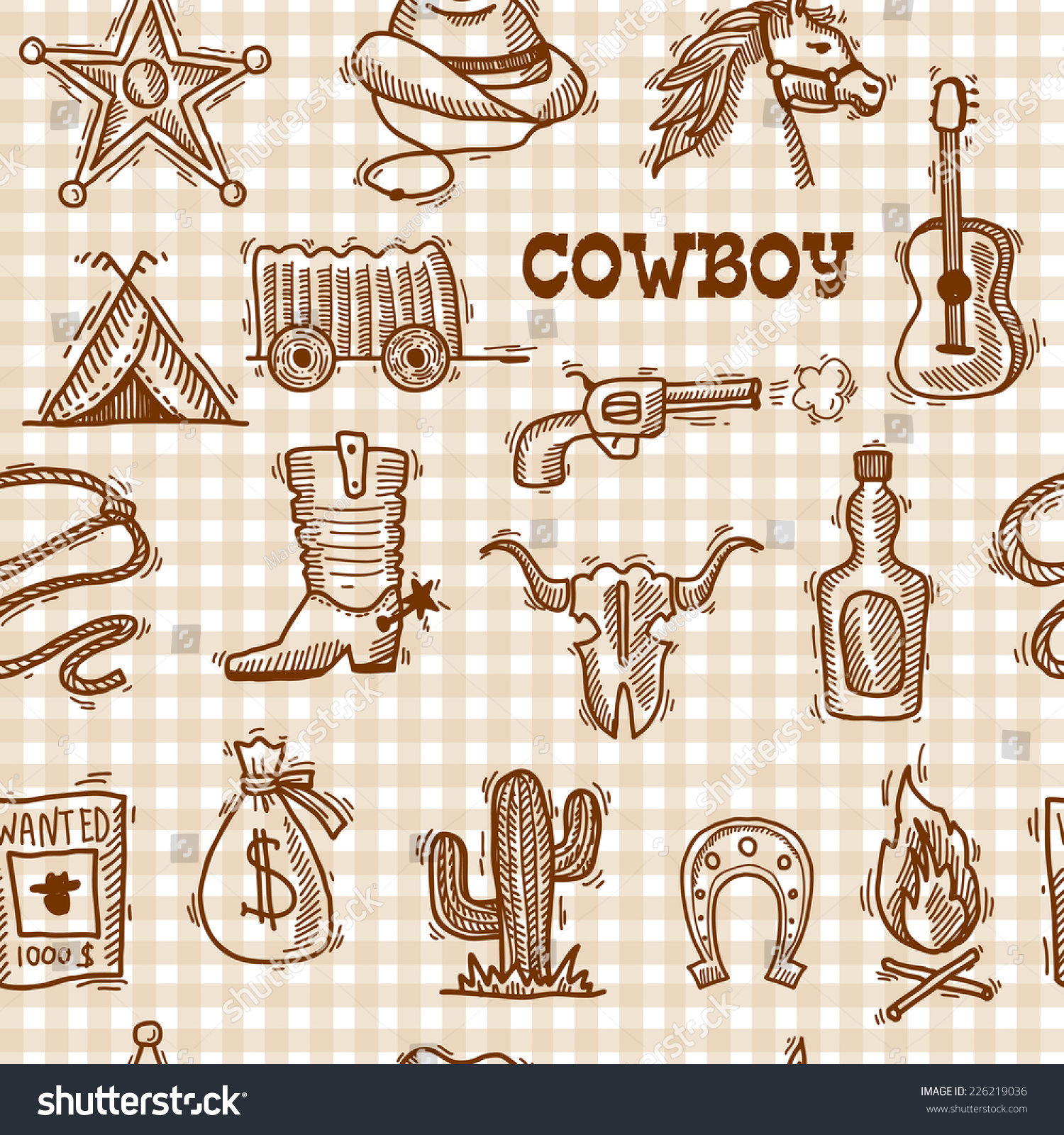 Wild West Cowboy Seamless Pattern On Stock Vector HD (Royalty Free ...