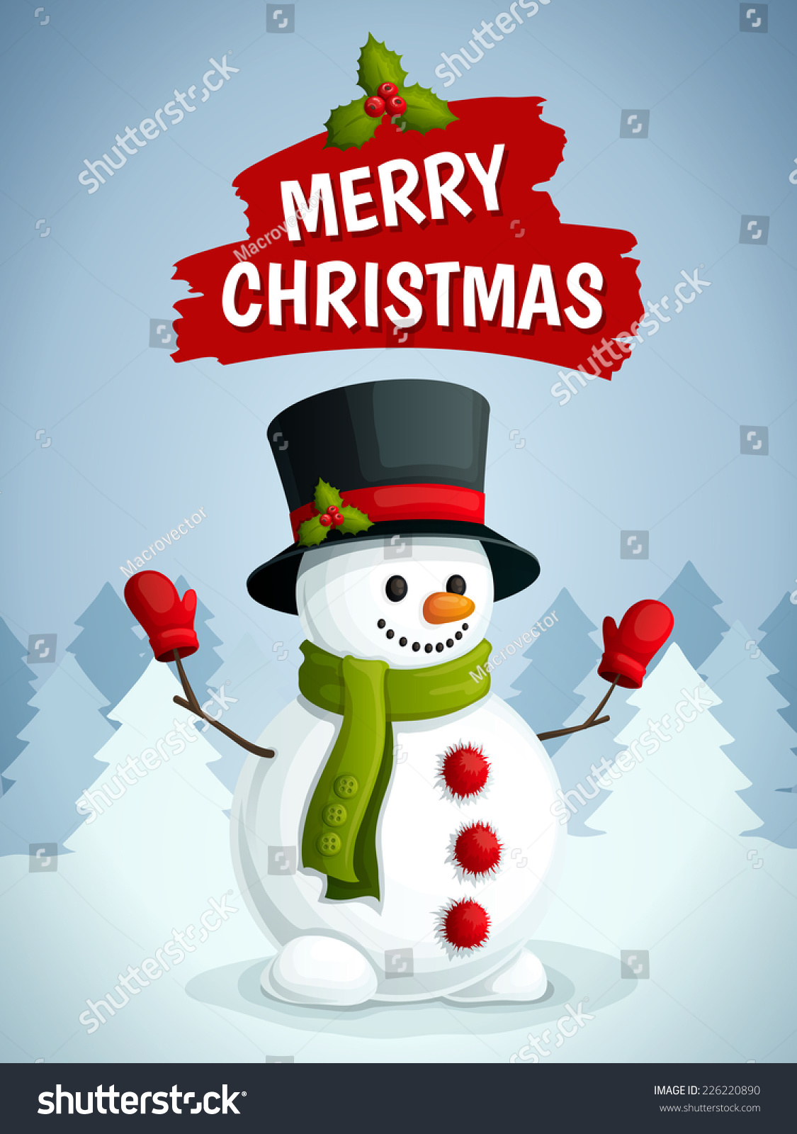 Merry Christmas Poster With Snowman In Scarf Gloves And Hat On ...