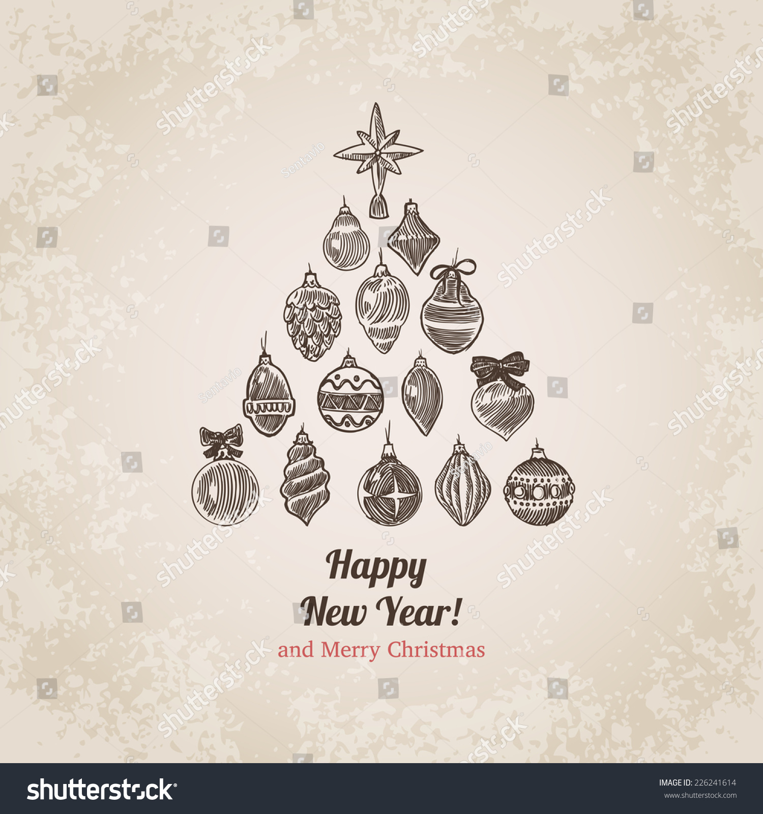 christmas tree decorations set new year stock vector 226241614