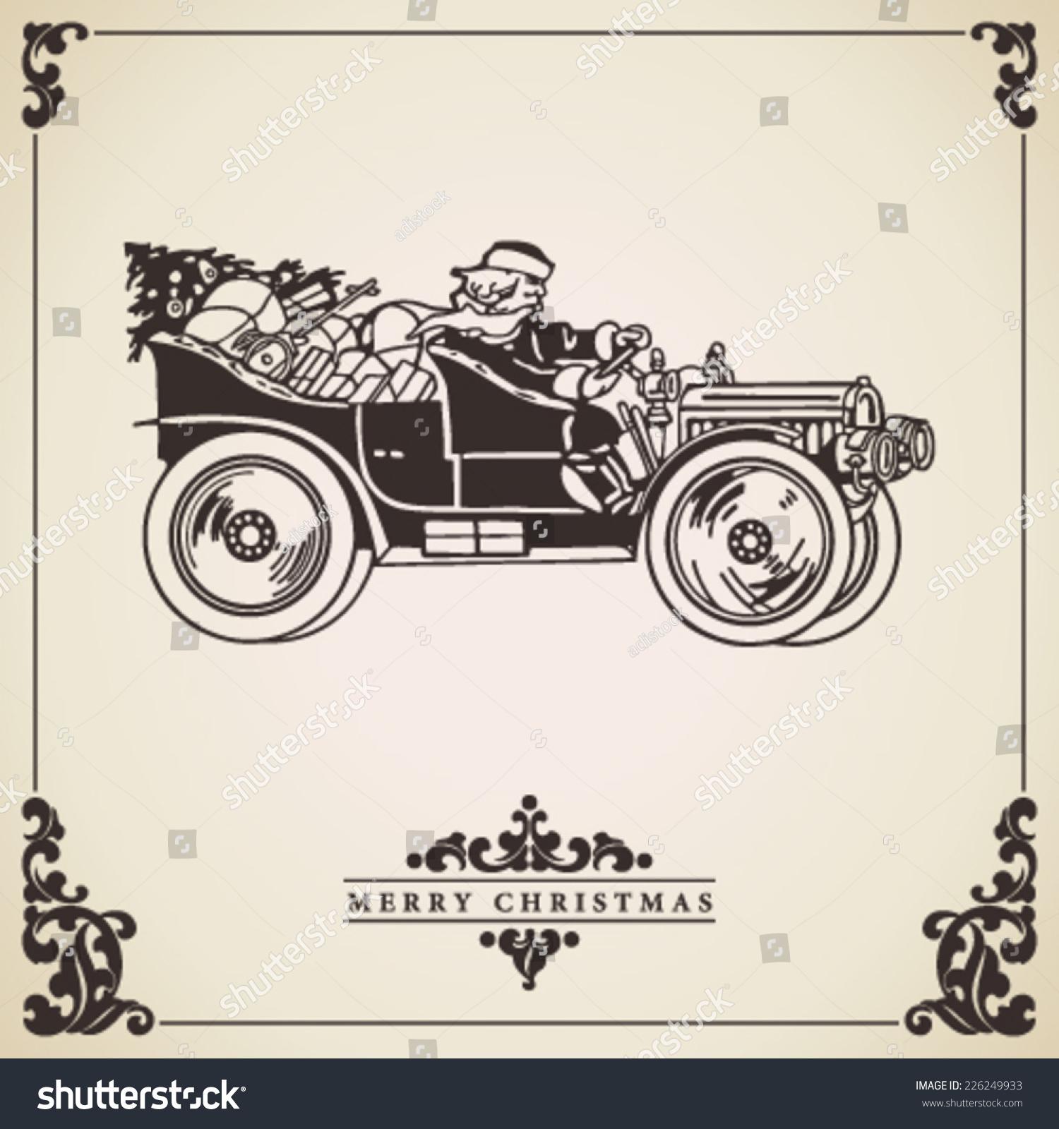 Christmas Card Vector Santa Claus Driving Stock Vector (Royalty Free ...